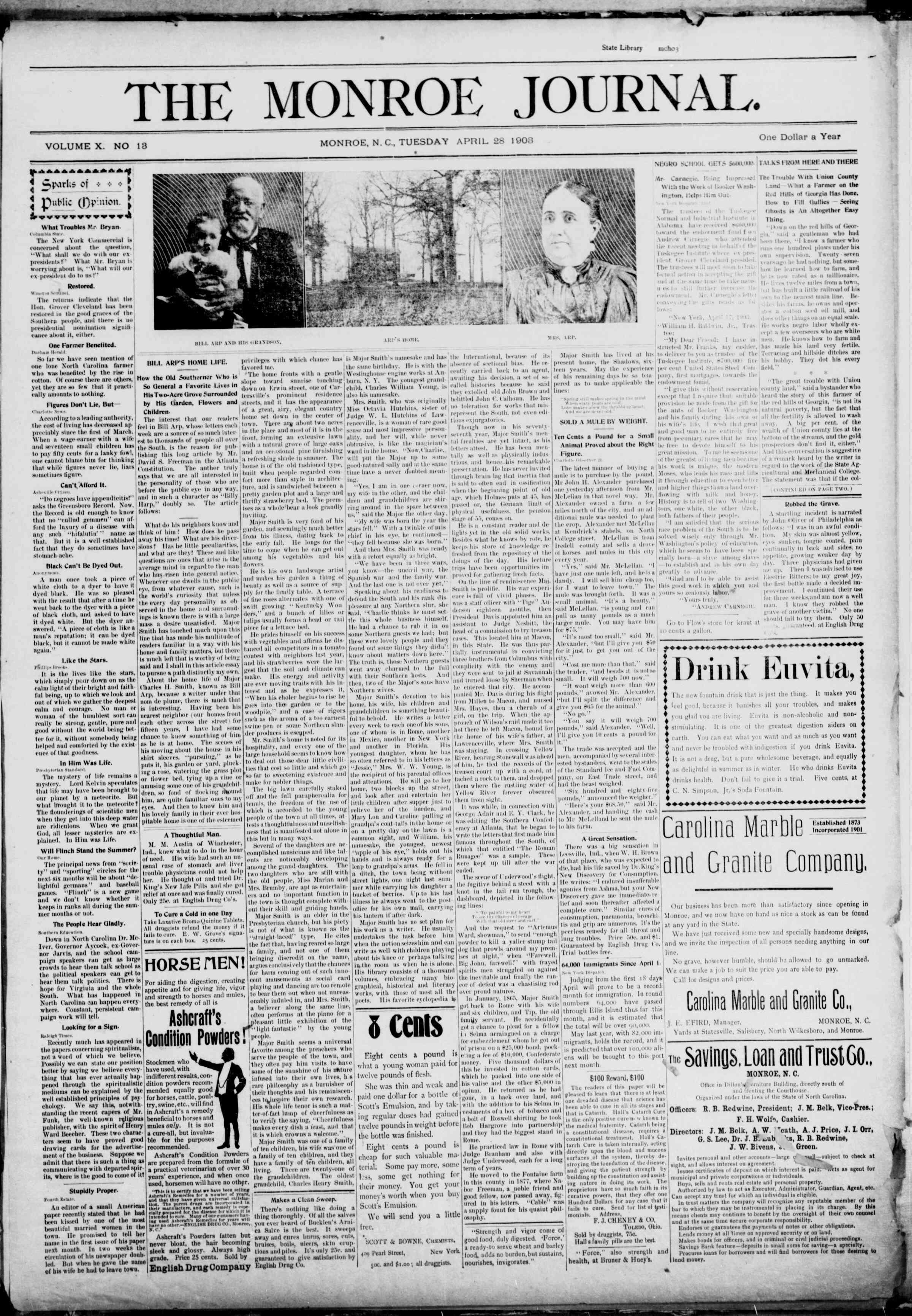 28 Nisan 1903 Tarihli The Monroe Journal Dergisi Sayfa 1