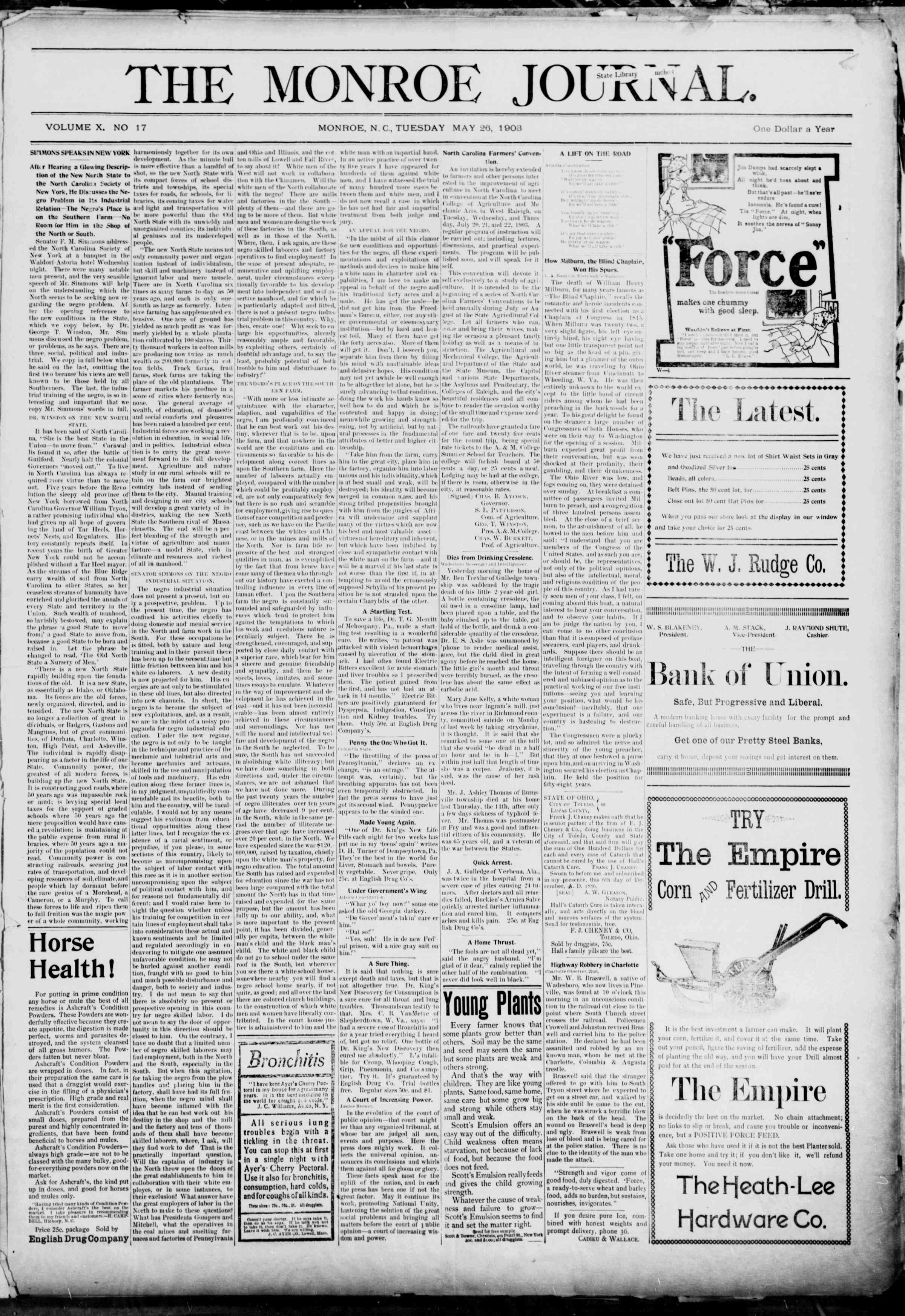 26 Mayıs 1903 Tarihli The Monroe Journal Dergisi Sayfa 1