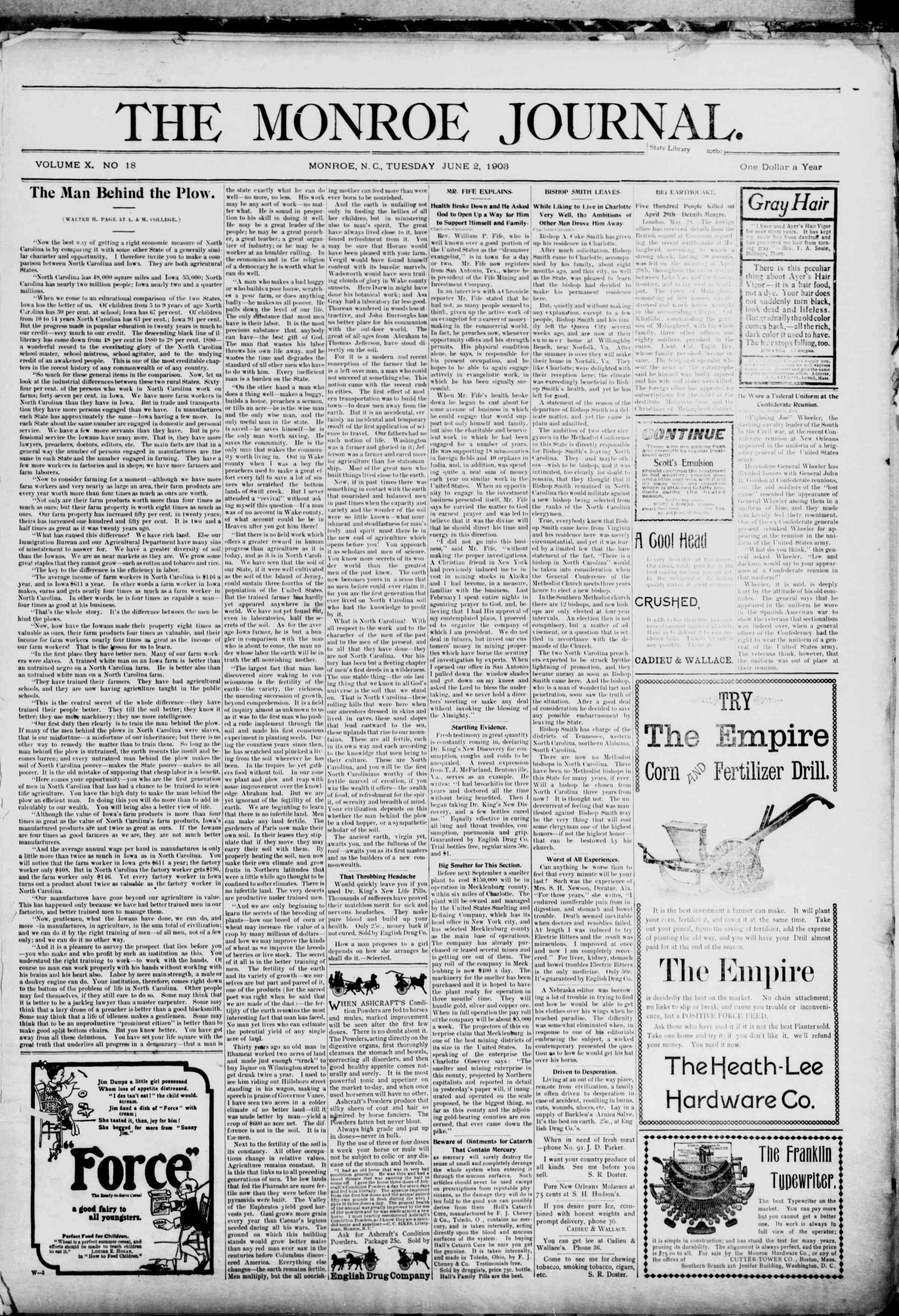 2 Haziran 1903 Tarihli The Monroe Journal Dergisi Sayfa 1