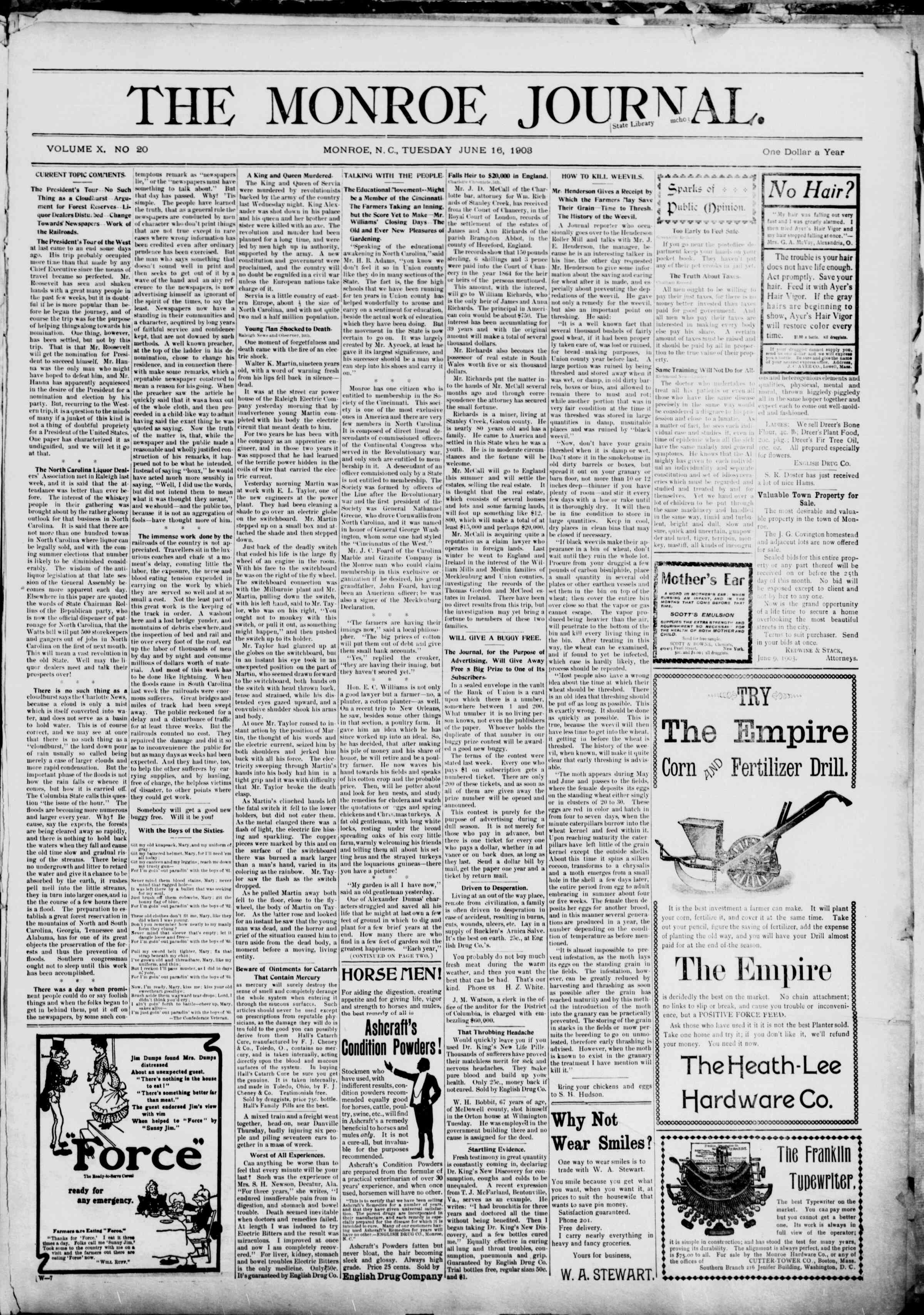 16 Haziran 1903 Tarihli The Monroe Journal Dergisi Sayfa 1