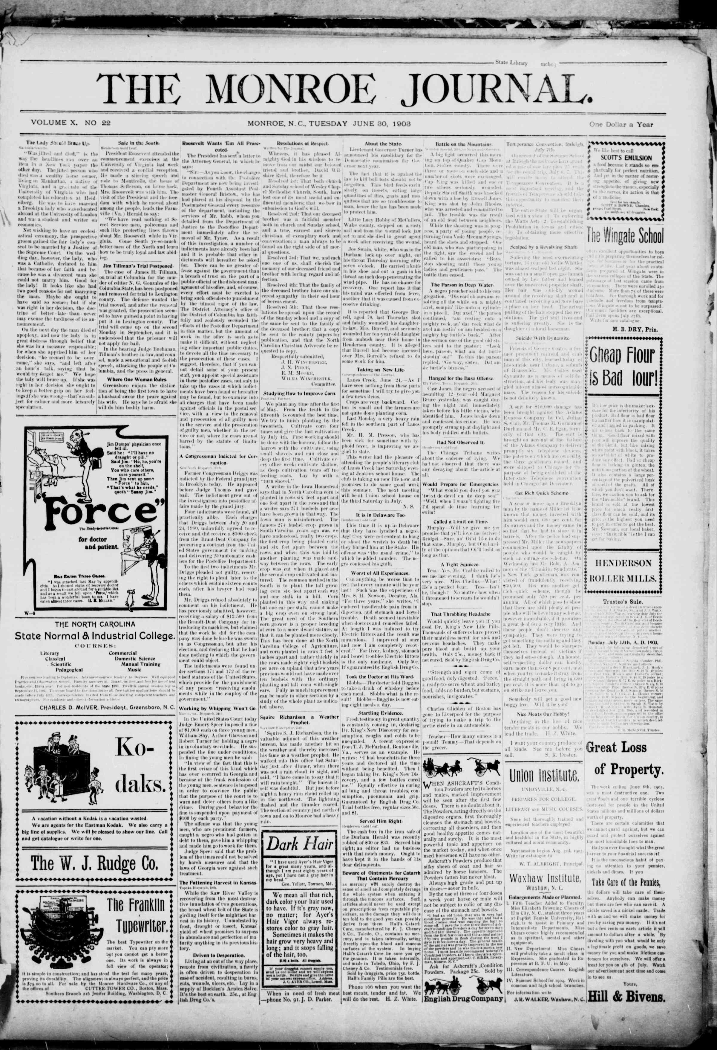 30 Haziran 1903 Tarihli The Monroe Journal Dergisi Sayfa 1