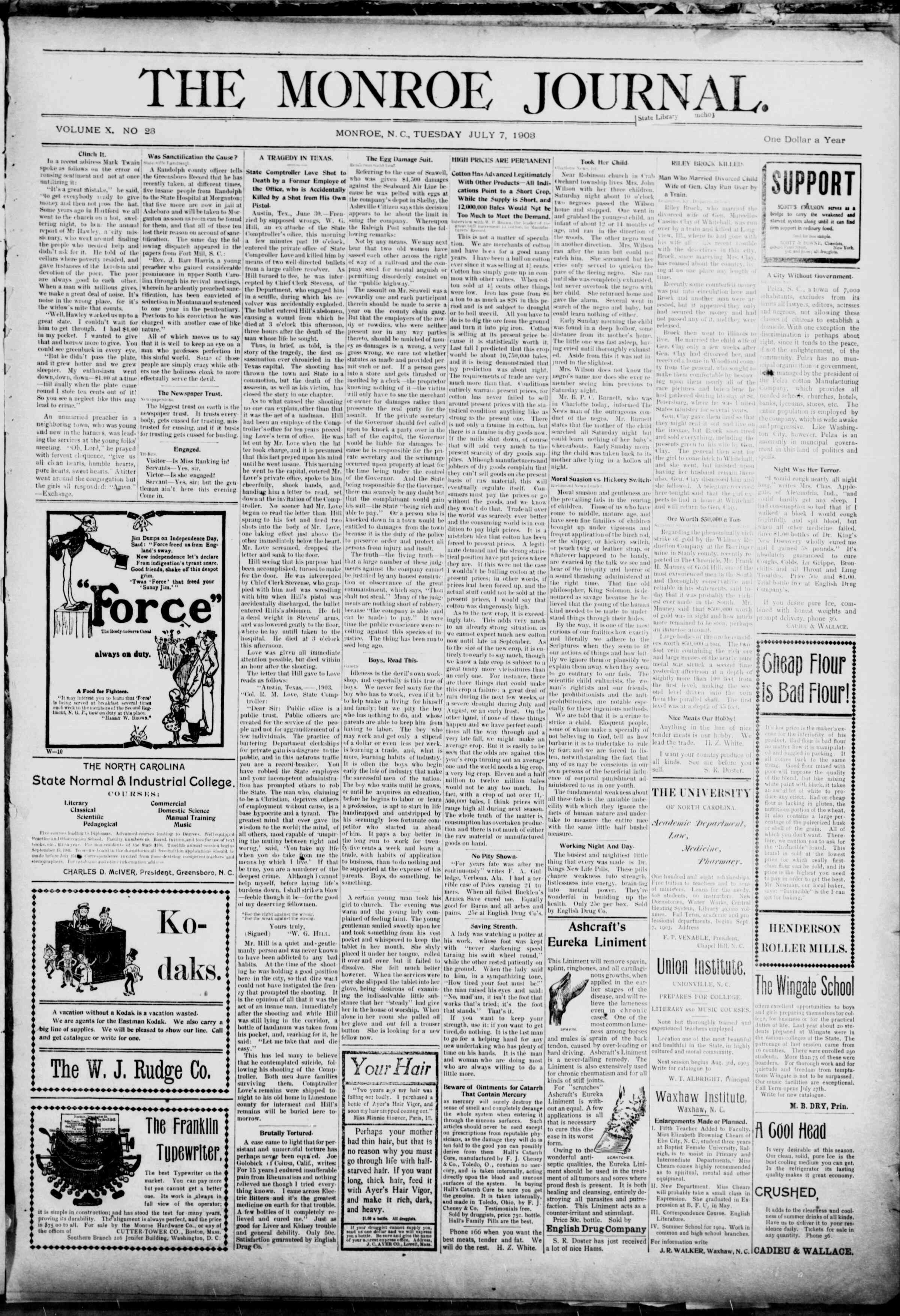 7 Temmuz 1903 Tarihli The Monroe Journal Dergisi Sayfa 1