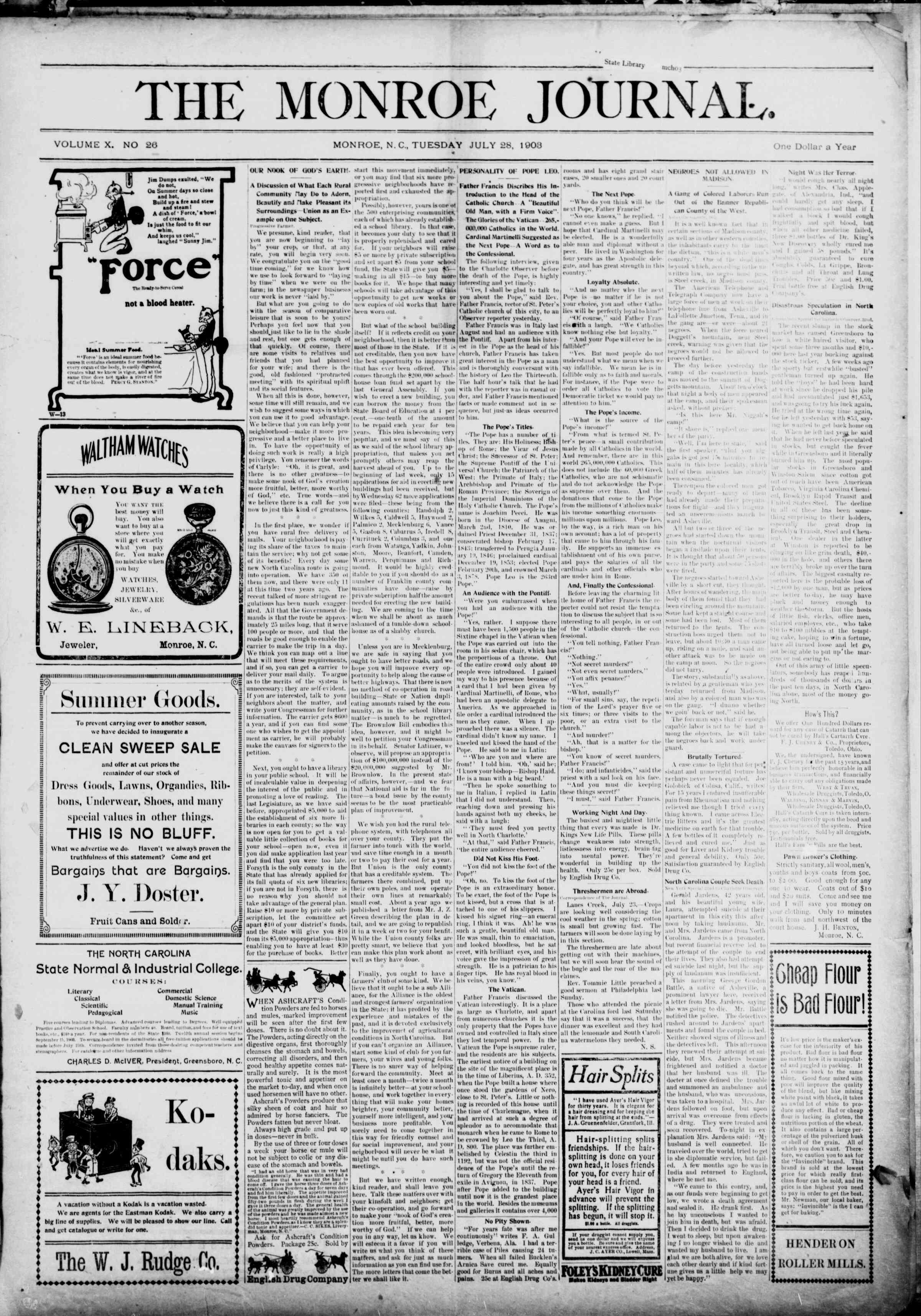 28 Temmuz 1903 Tarihli The Monroe Journal Dergisi Sayfa 1