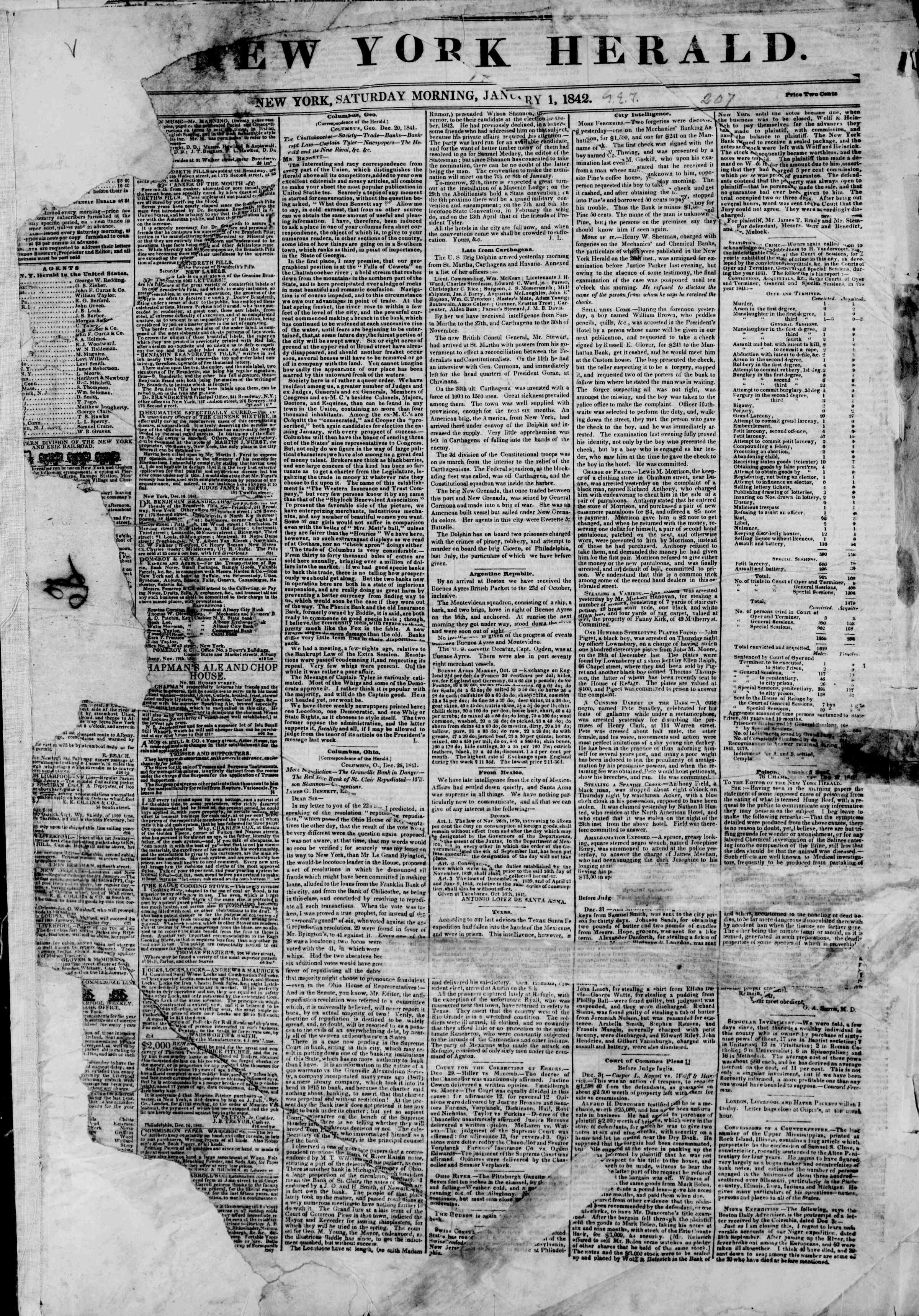 January 1, 1842 Tarihli The New York Herald Gazetesi Sayfa 1