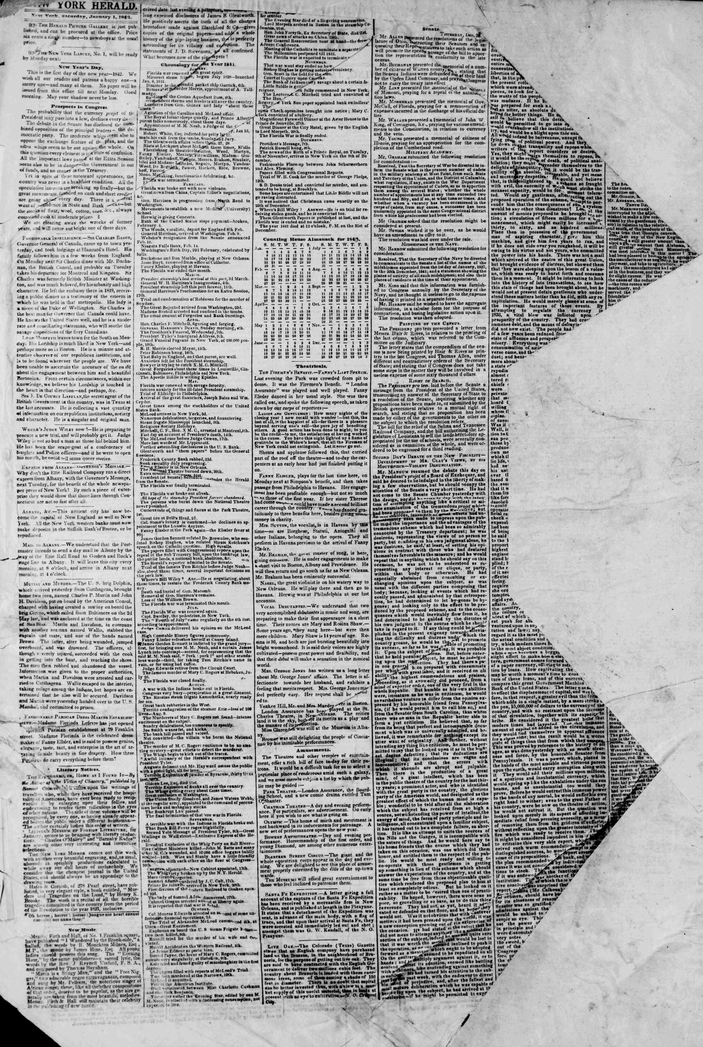 January 1, 1842 Tarihli The New York Herald Gazetesi Sayfa 2