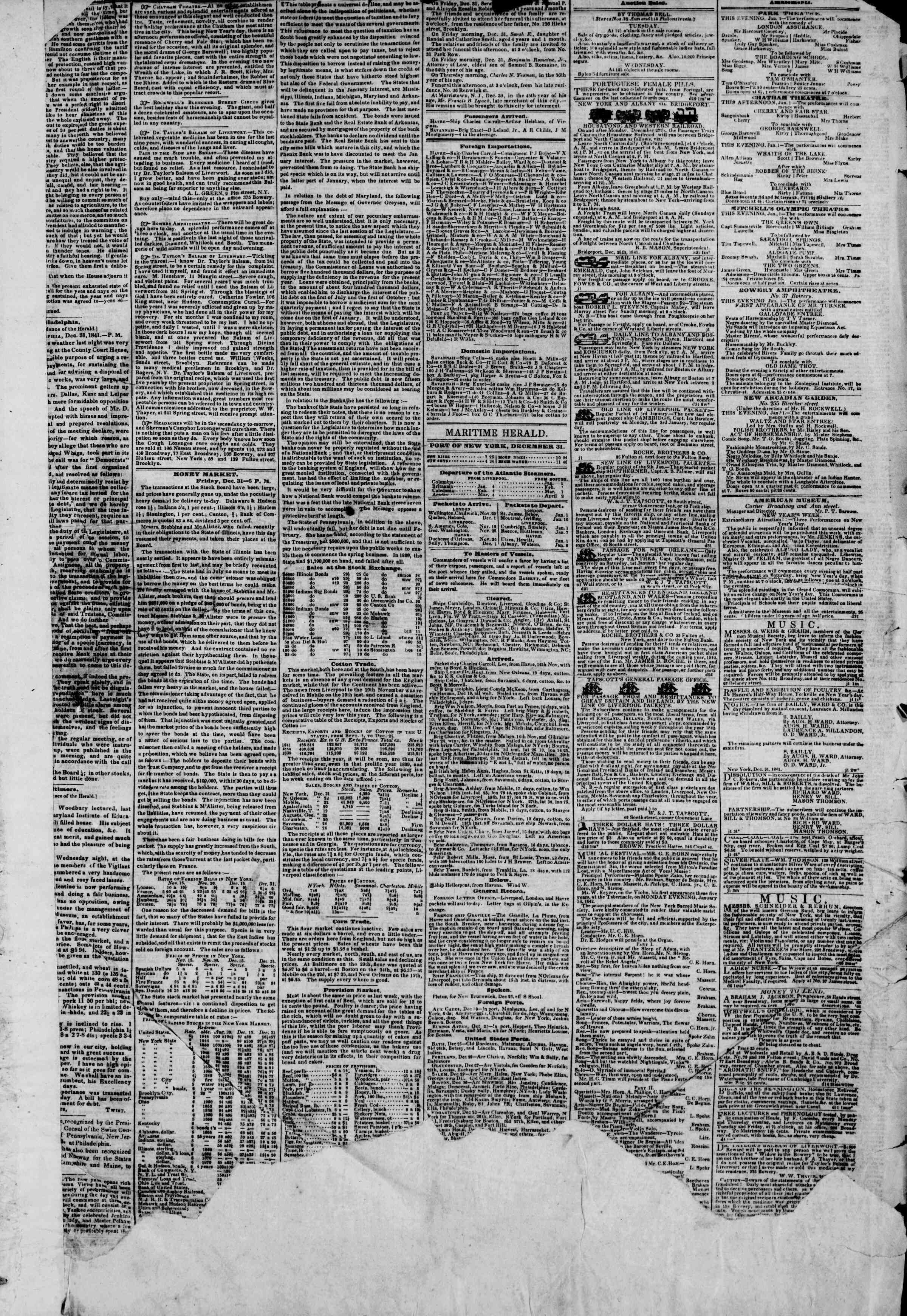 1 Ocak 1842 Tarihli The New York Herald Gazetesi Sayfa 3