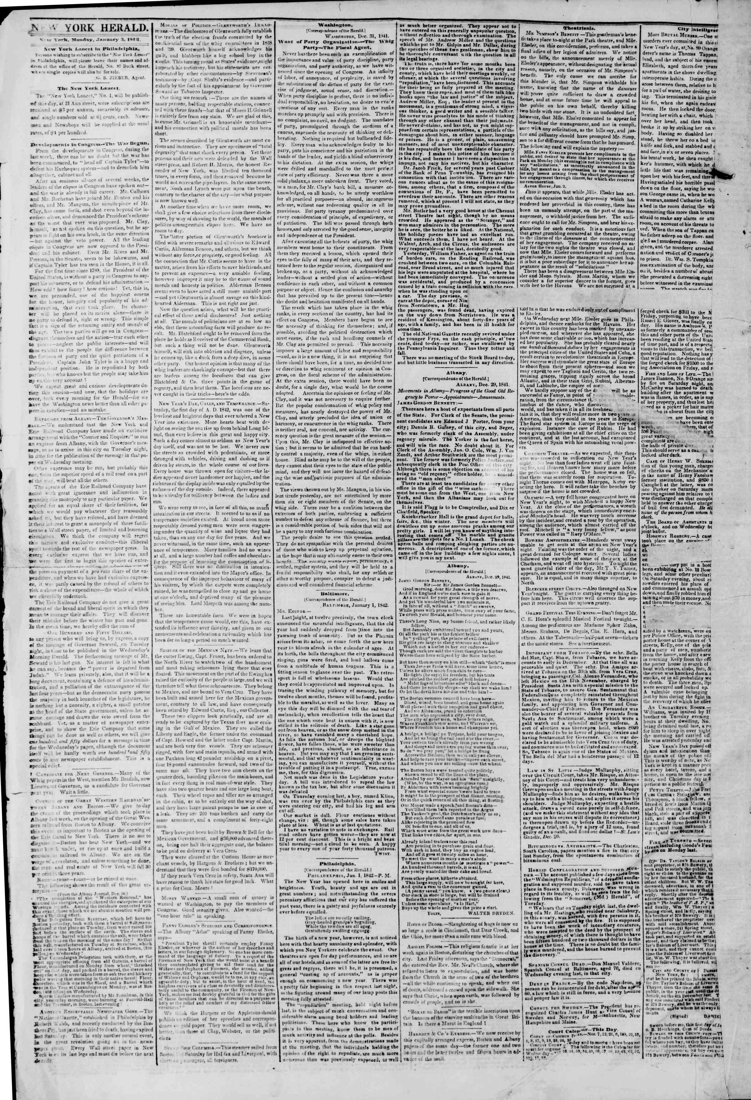 January 3, 1842 Tarihli The New York Herald Gazetesi Sayfa 2