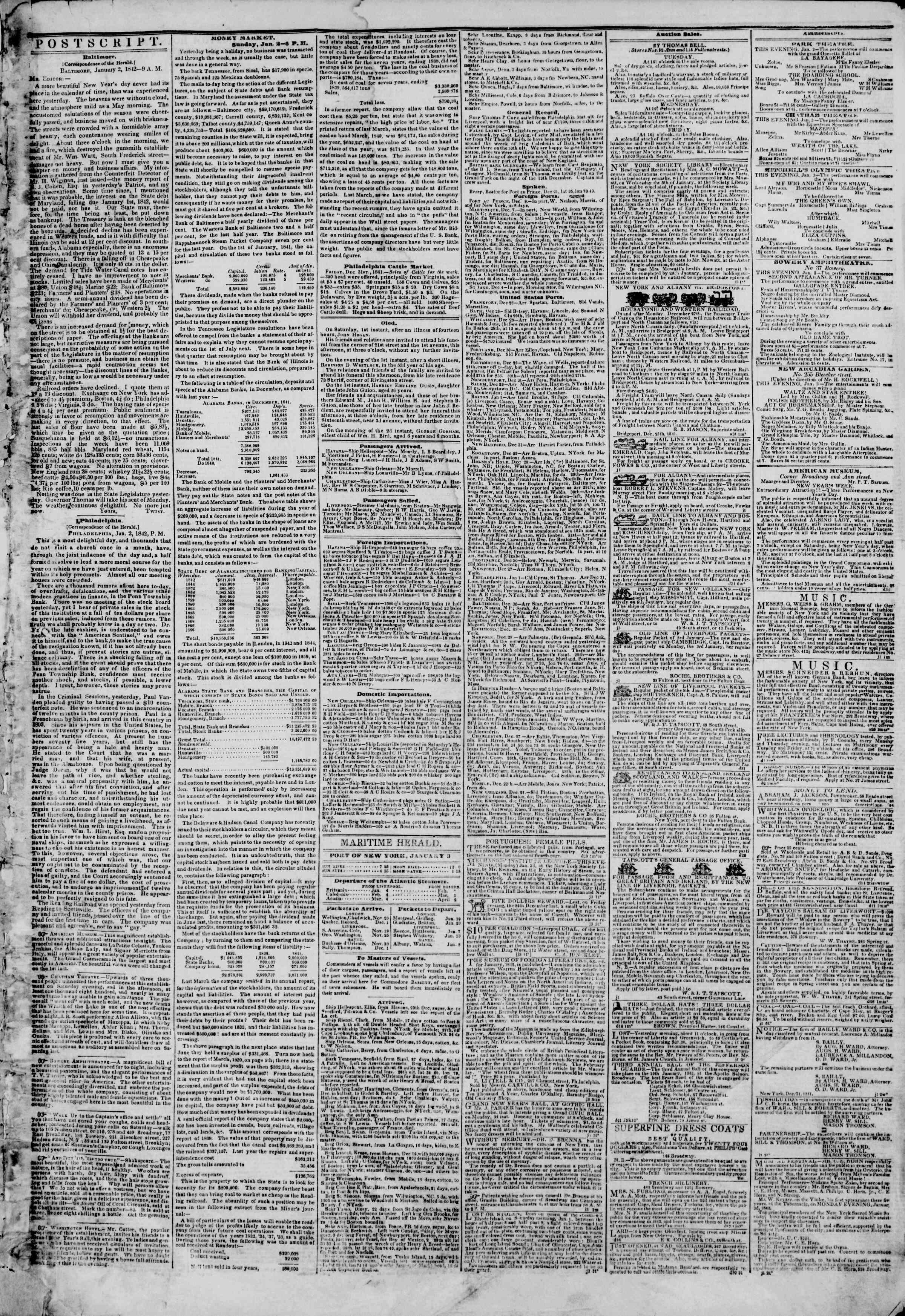January 3, 1842 Tarihli The New York Herald Gazetesi Sayfa 3