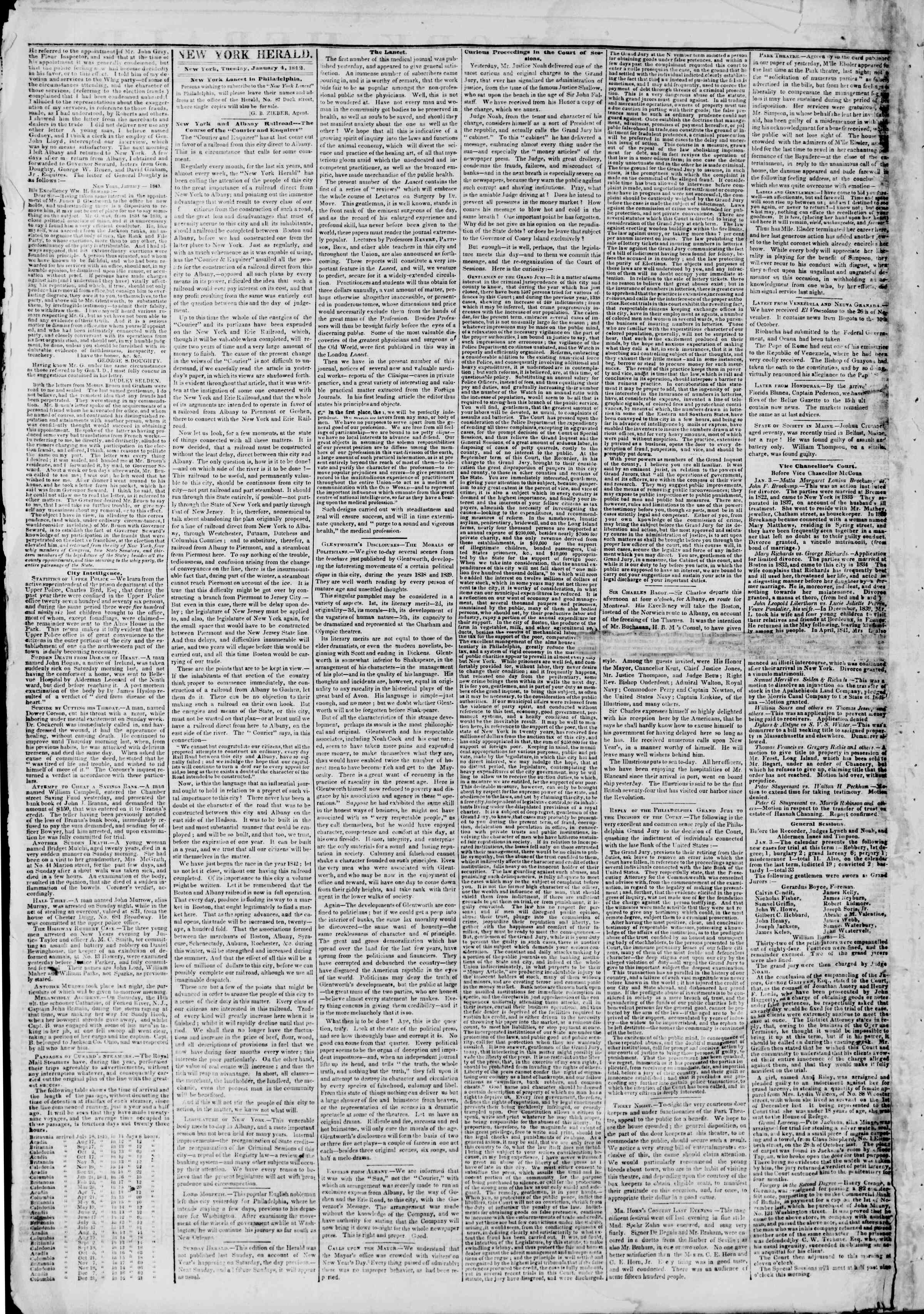 Newspaper of The New York Herald dated January 4, 1842 Page 2