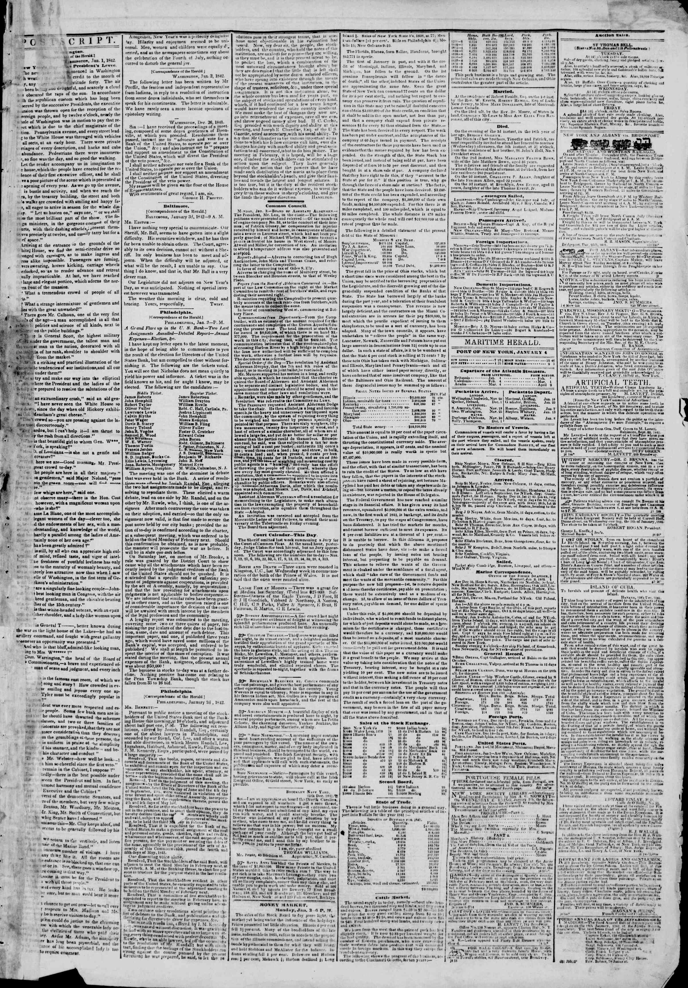 Newspaper of The New York Herald dated January 4, 1842 Page 3