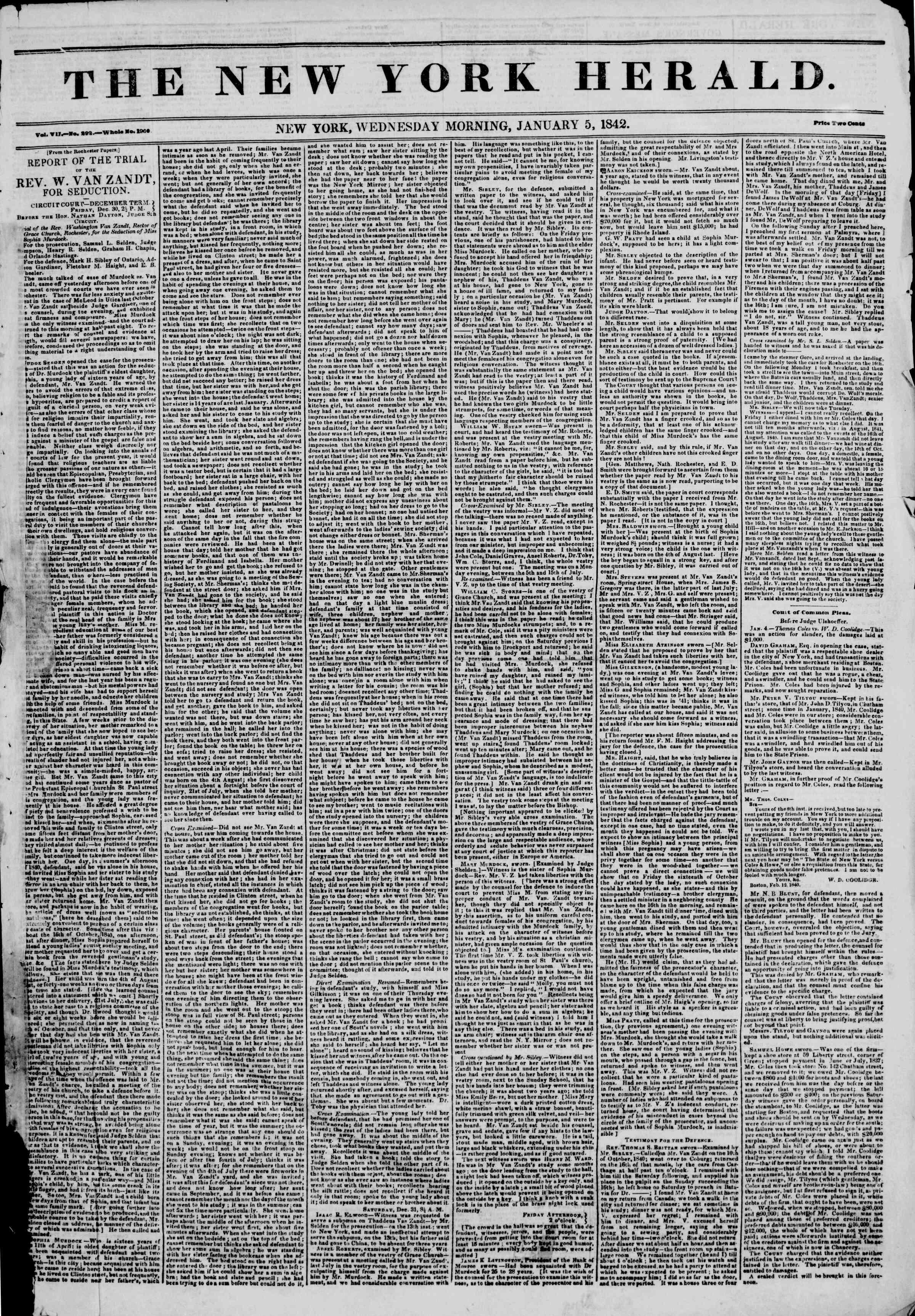 January 5, 1842 Tarihli The New York Herald Gazetesi Sayfa 1