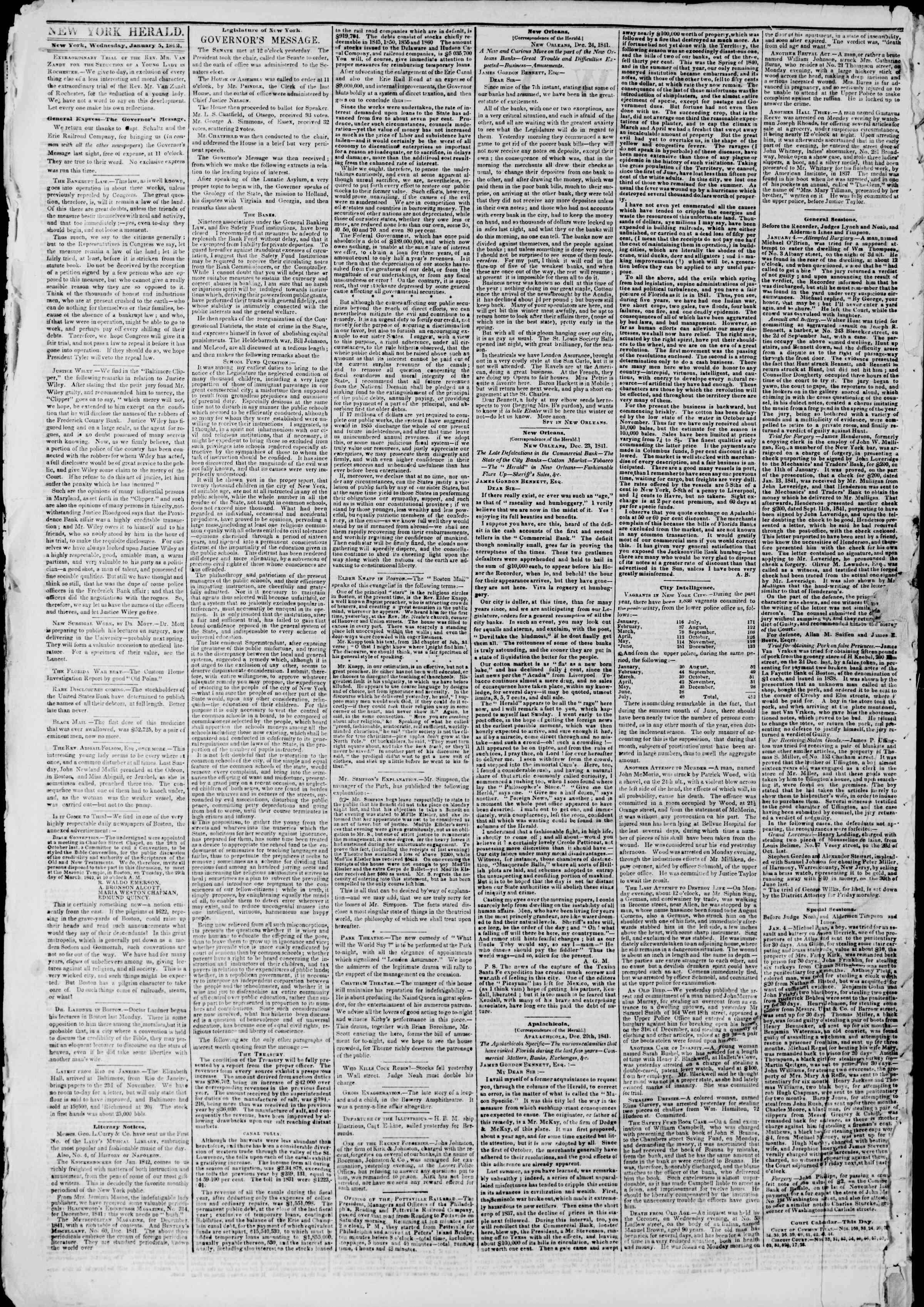 January 5, 1842 Tarihli The New York Herald Gazetesi Sayfa 2