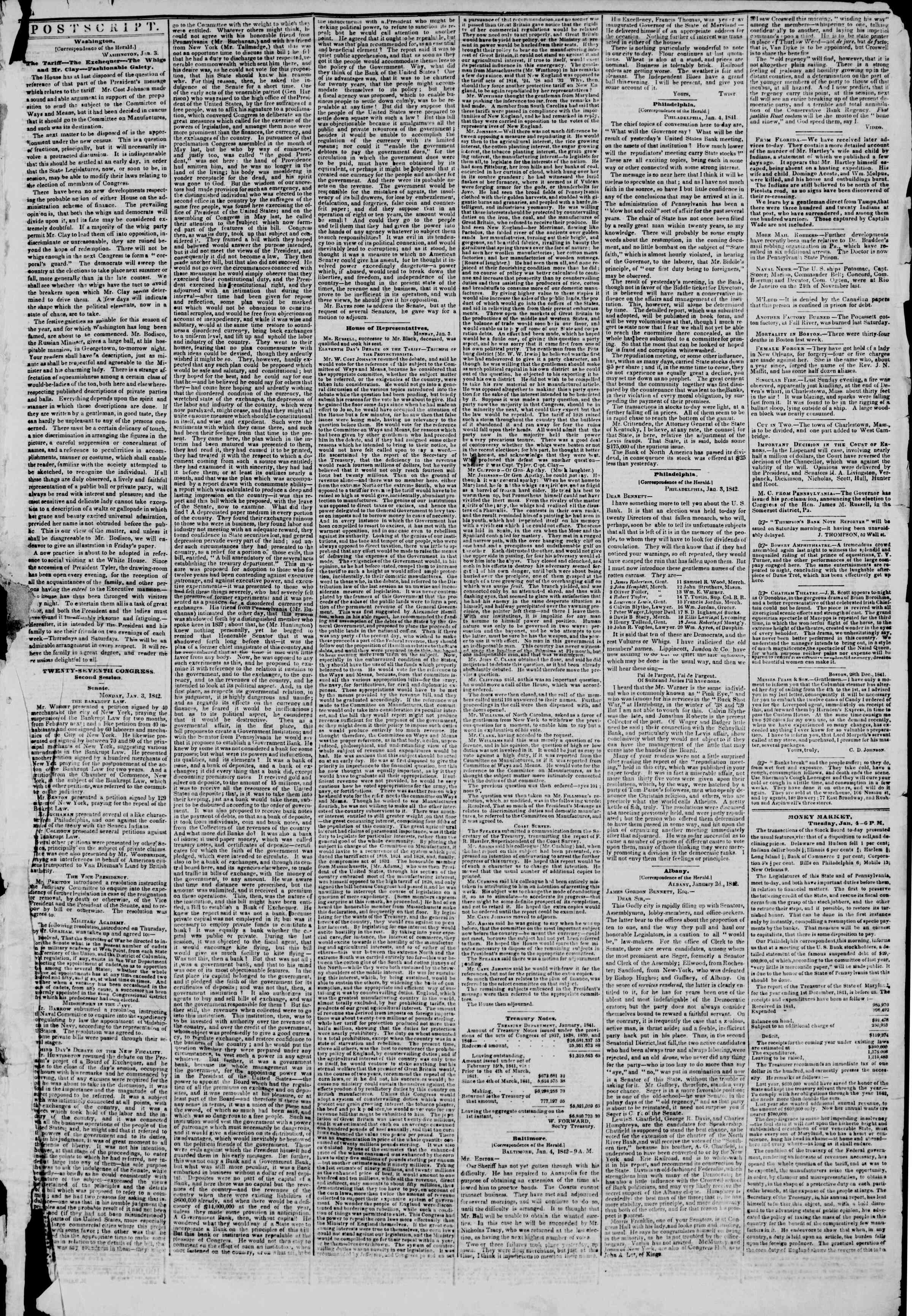 January 5, 1842 Tarihli The New York Herald Gazetesi Sayfa 3