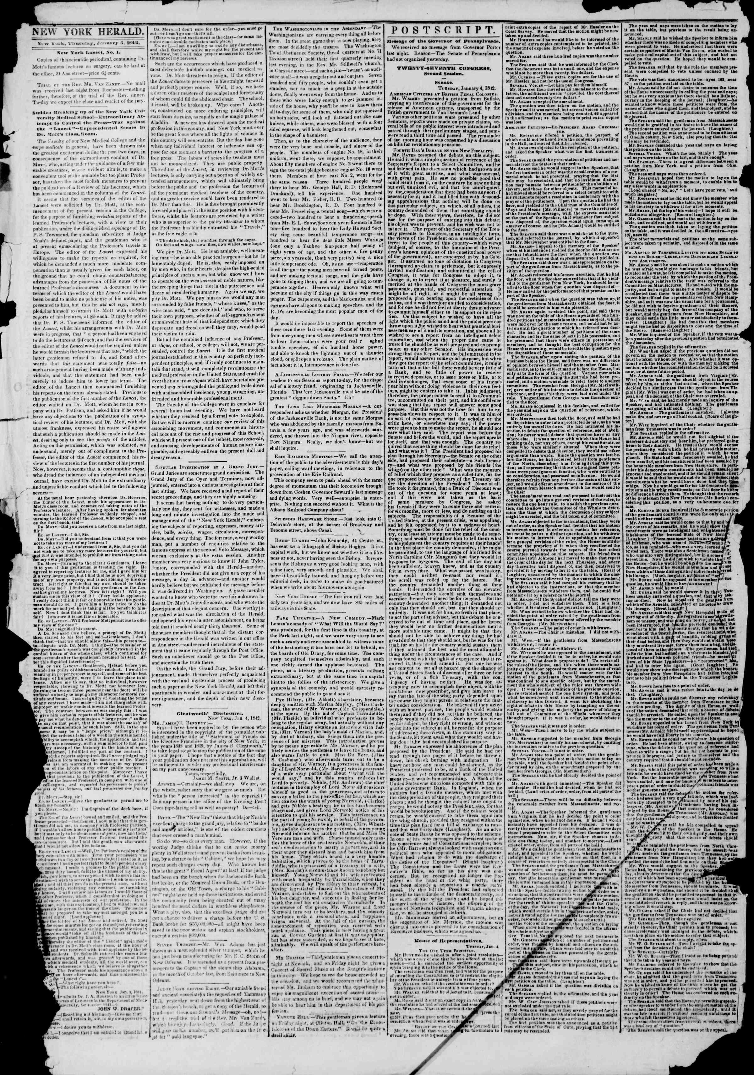 January 6, 1842 Tarihli The New York Herald Gazetesi Sayfa 2