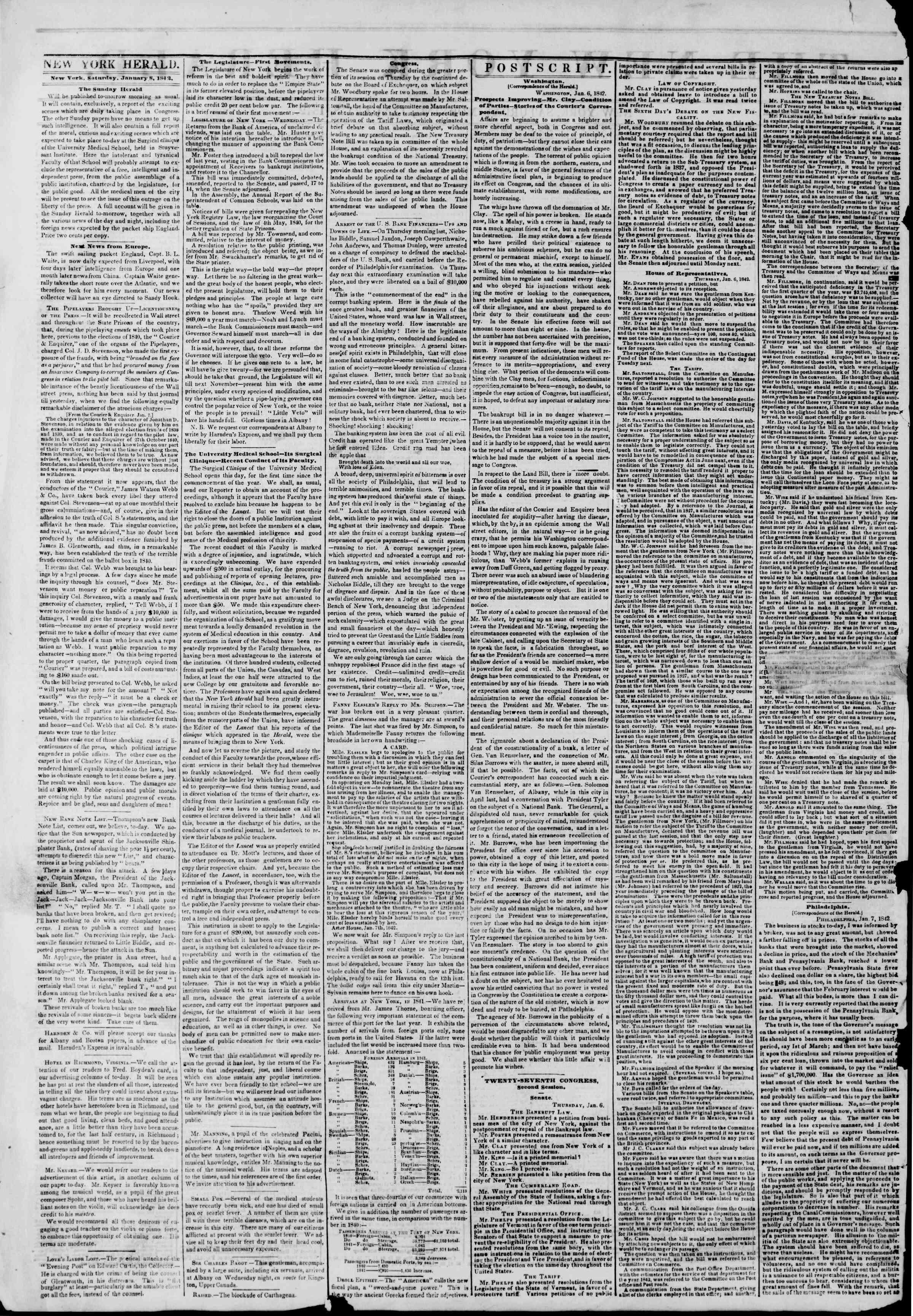 January 8, 1842 Tarihli The New York Herald Gazetesi Sayfa 2