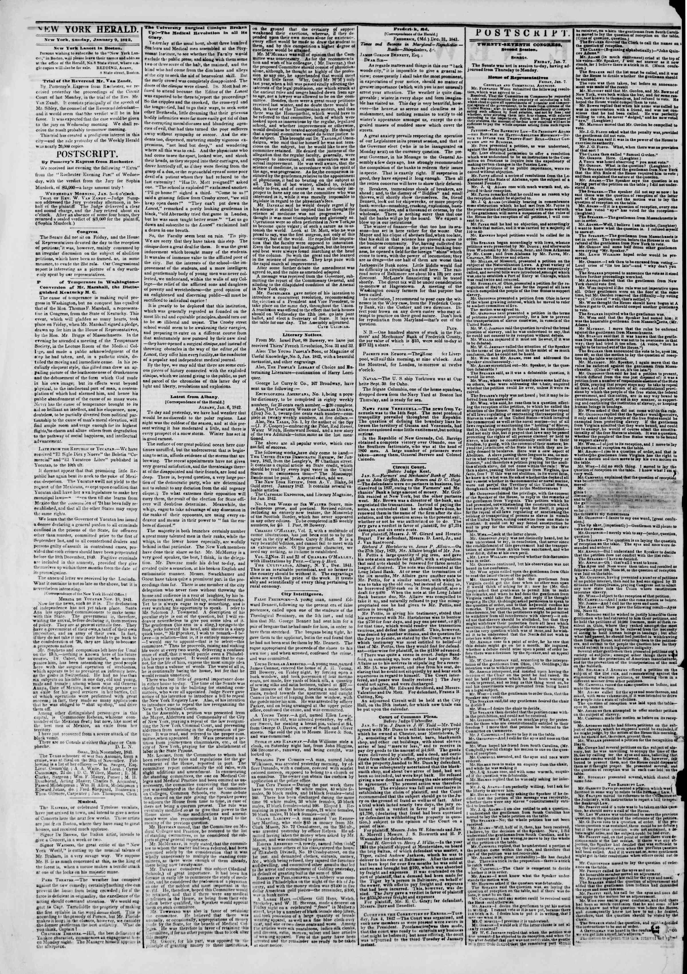 January 9, 1842 Tarihli The New York Herald Gazetesi Sayfa 2