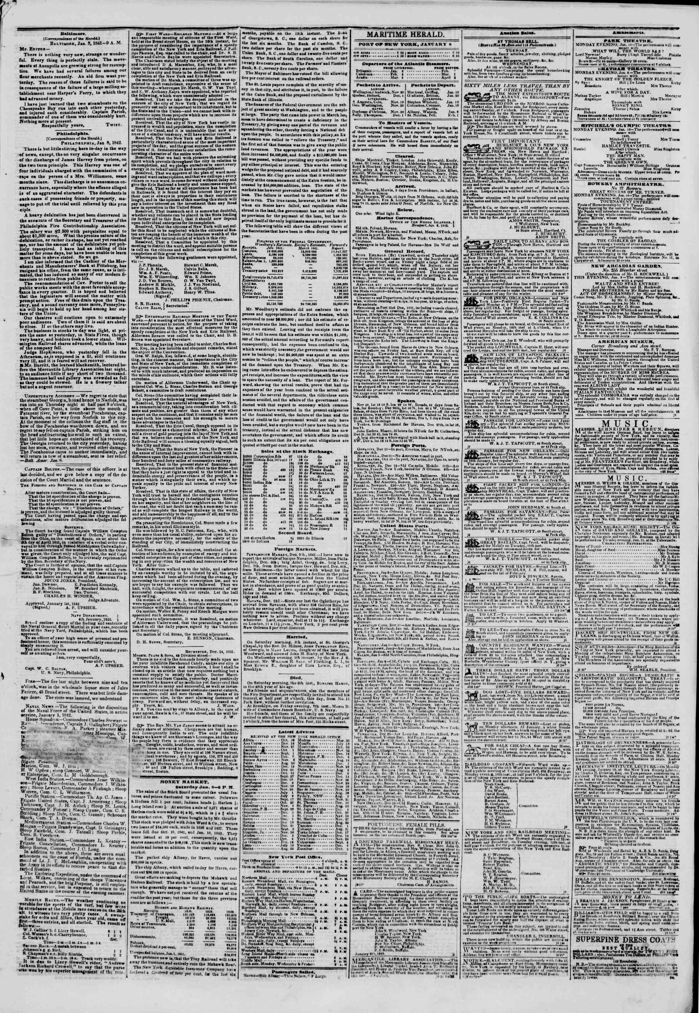 January 9, 1842 Tarihli The New York Herald Gazetesi Sayfa 3