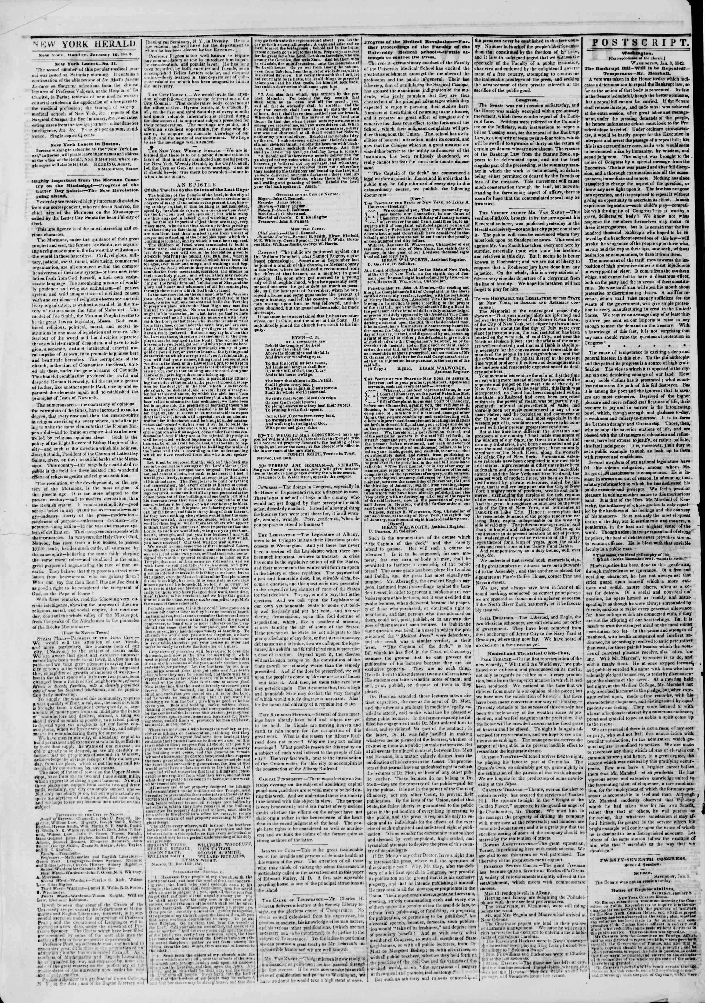 January 10, 1842 Tarihli The New York Herald Gazetesi Sayfa 2