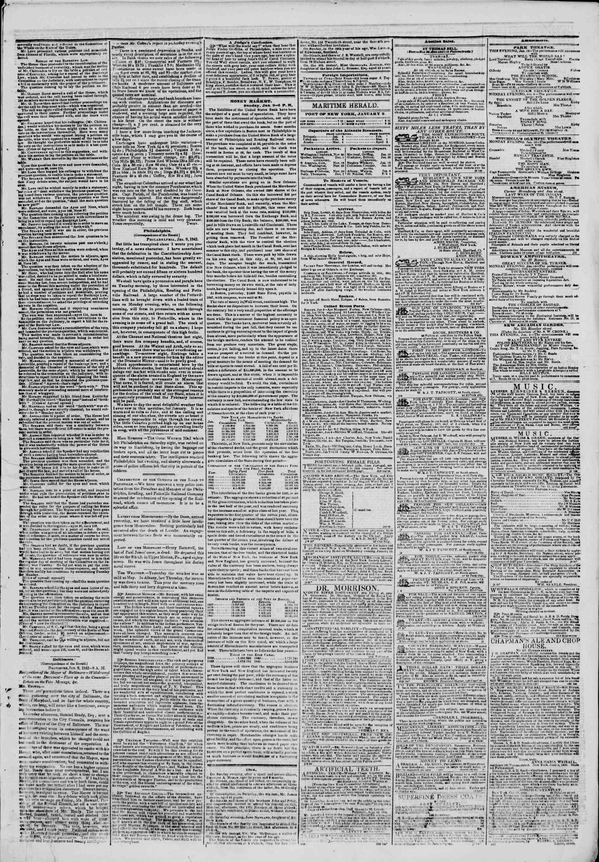 January 10, 1842 Tarihli The New York Herald Gazetesi Sayfa 3