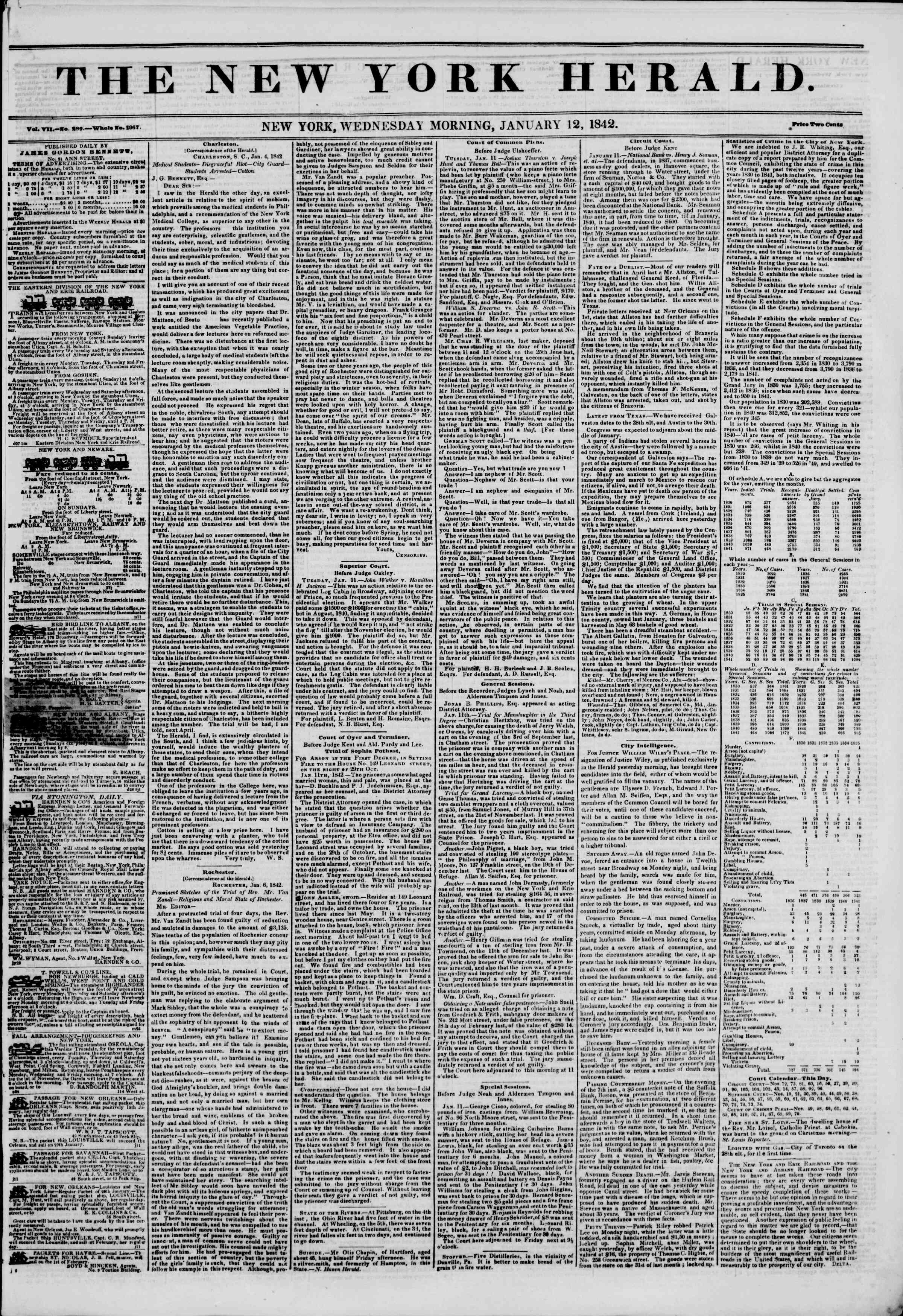 Newspaper of The New York Herald dated January 12, 1842 Page 1