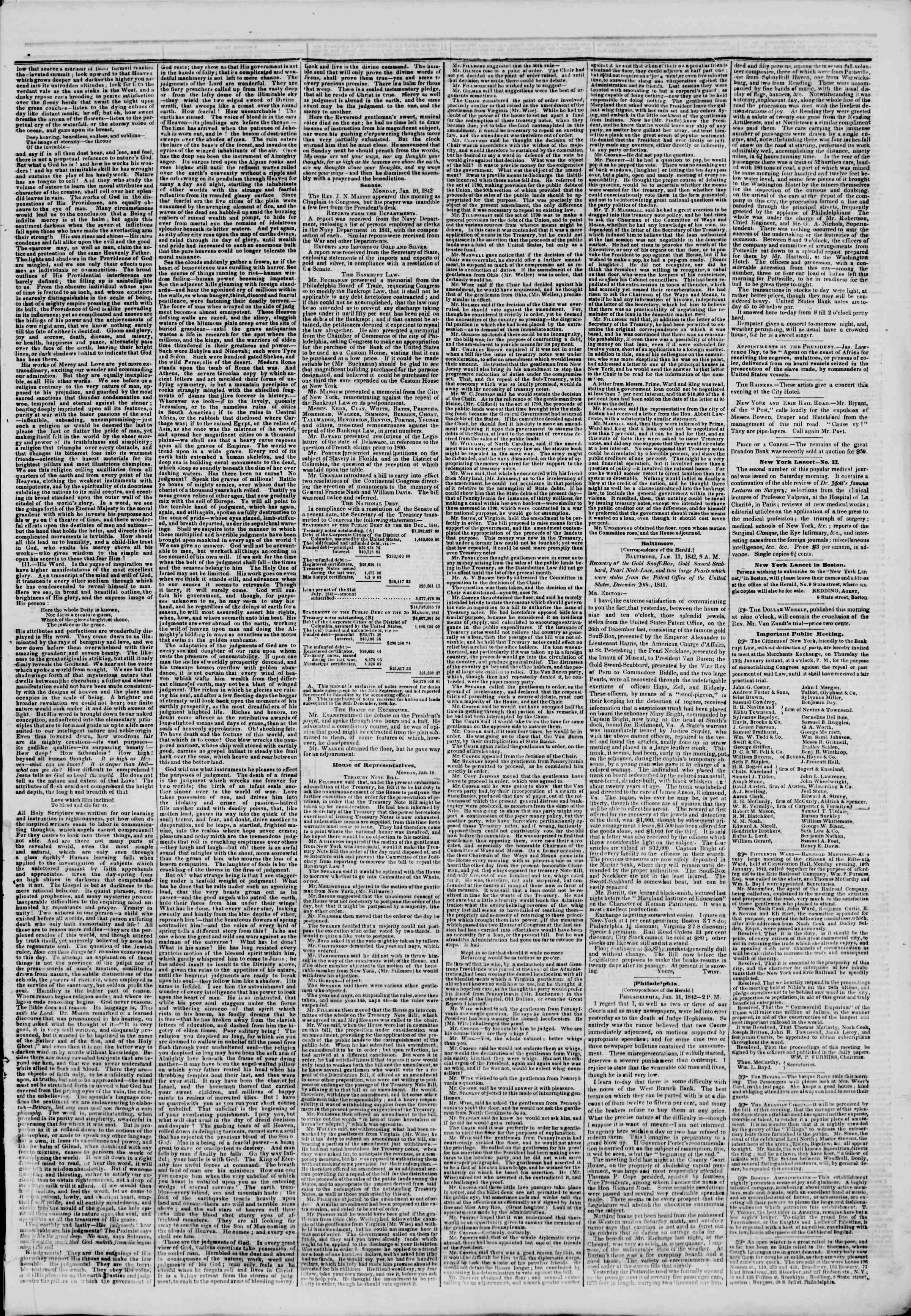 January 12, 1842 Tarihli The New York Herald Gazetesi Sayfa 3