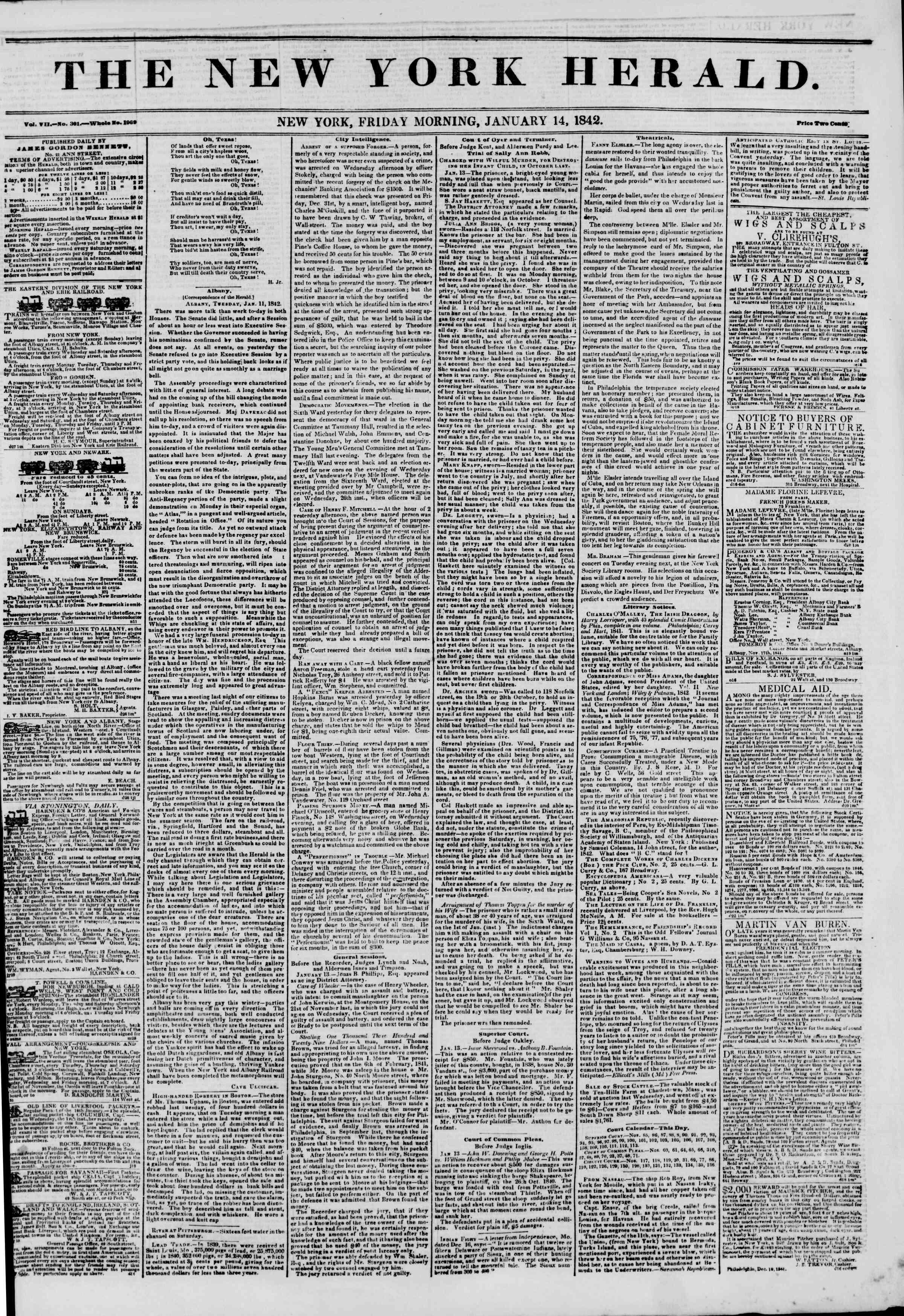 14 Ocak 1842 tarihli The New York Herald Gazetesi Sayfa 1