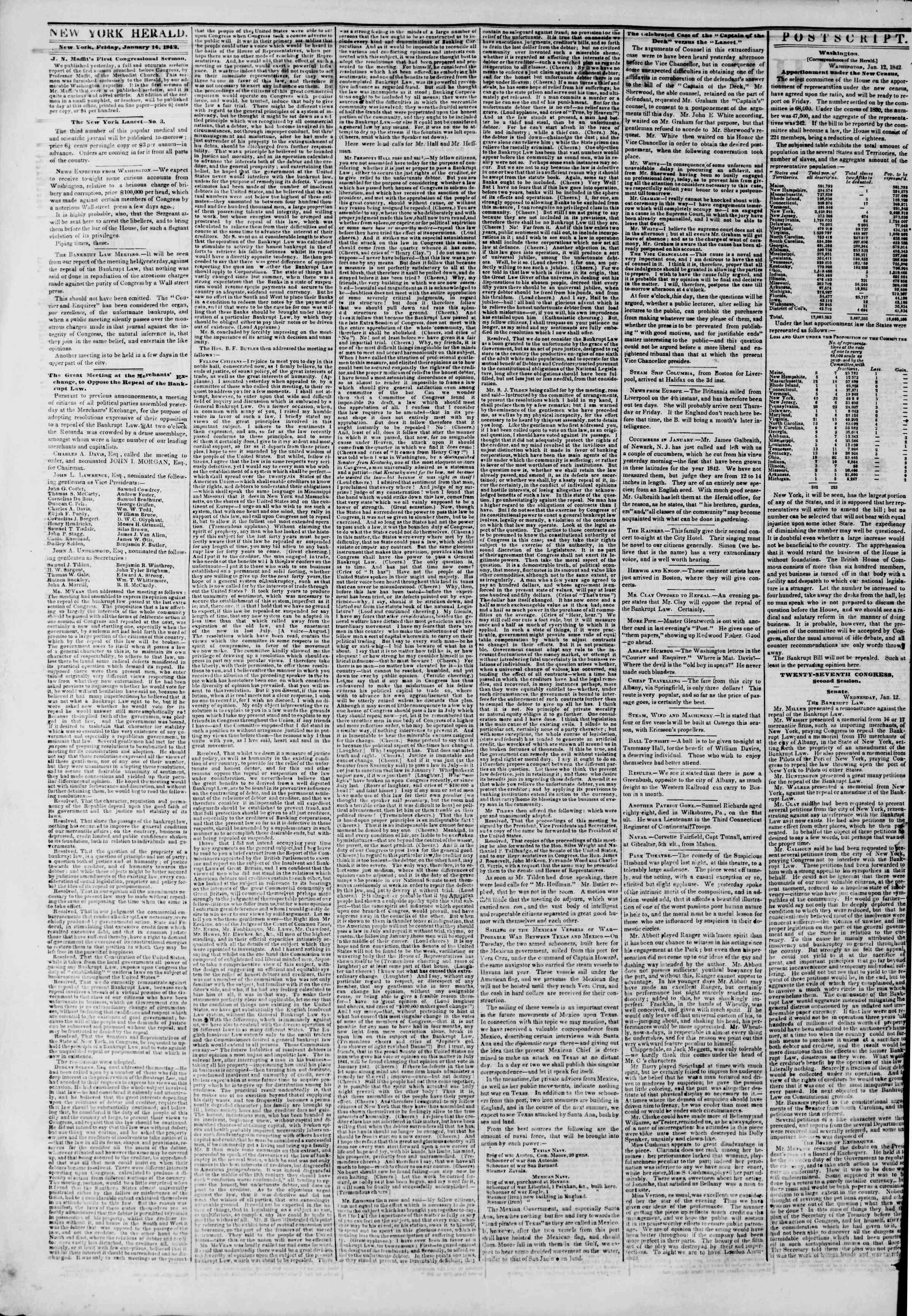 January 14, 1842 Tarihli The New York Herald Gazetesi Sayfa 2