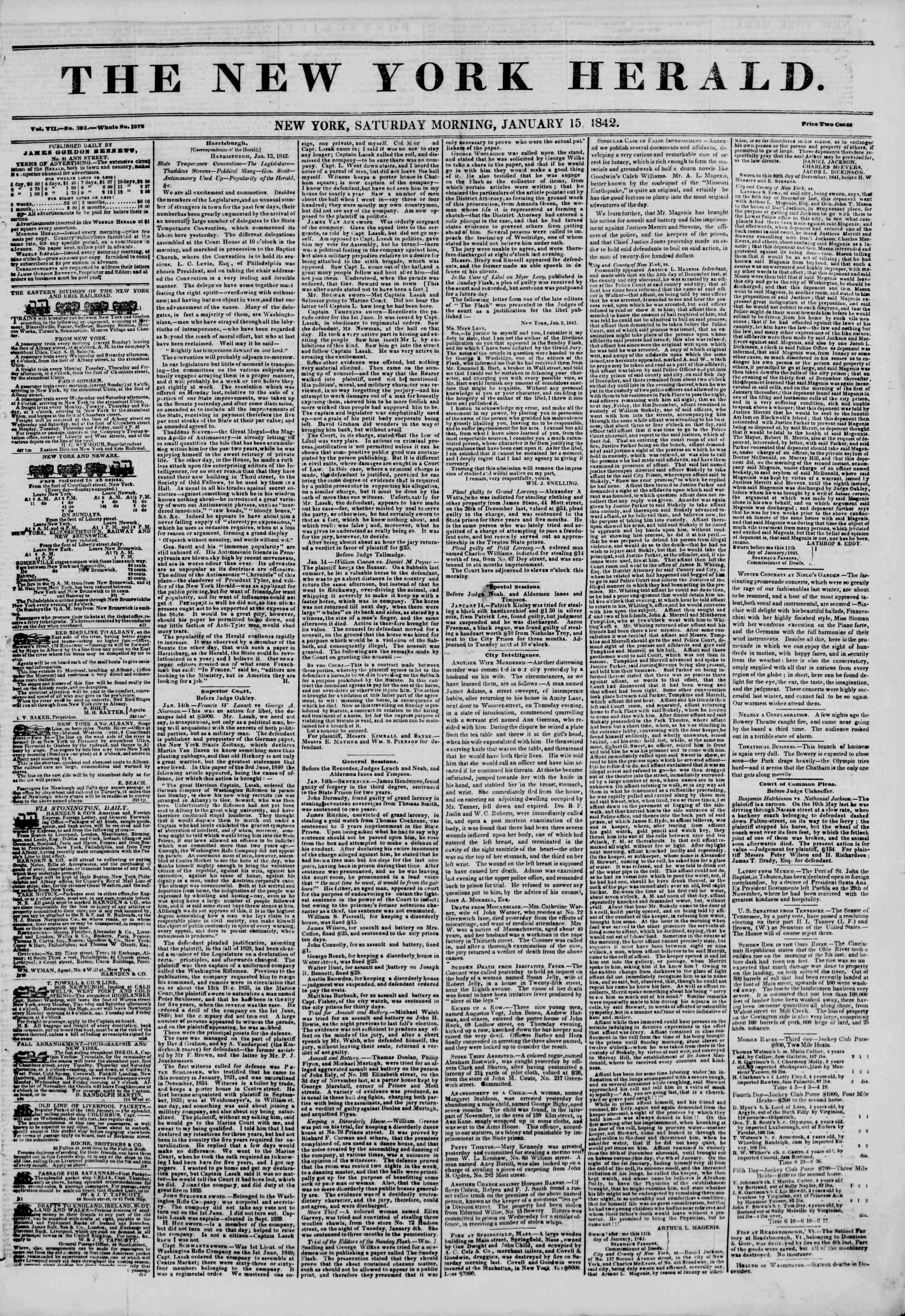 January 15, 1842 Tarihli The New York Herald Gazetesi Sayfa 1
