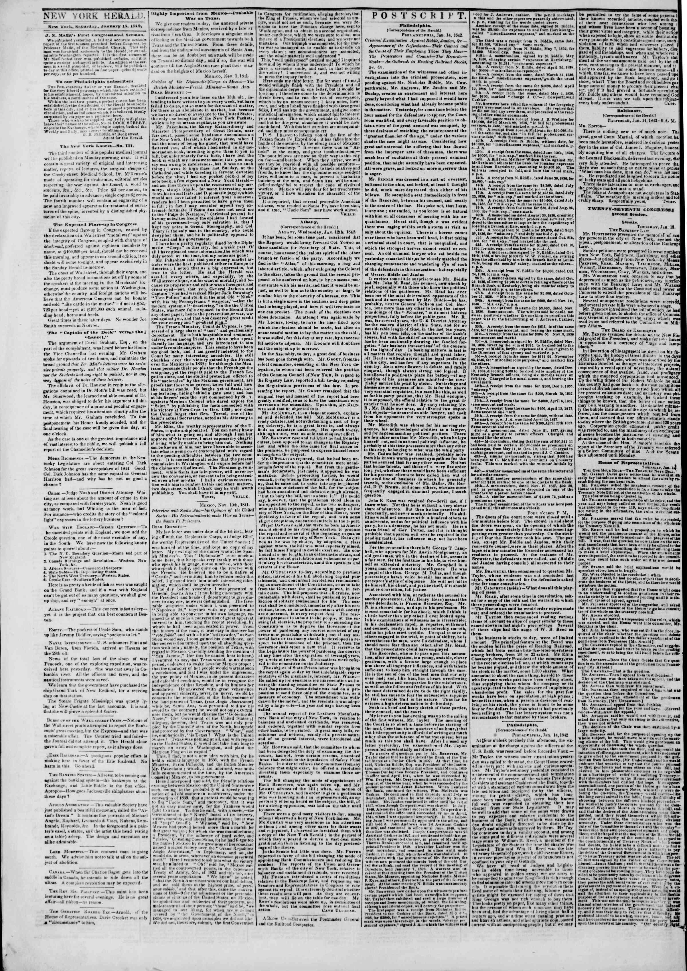 January 15, 1842 Tarihli The New York Herald Gazetesi Sayfa 2