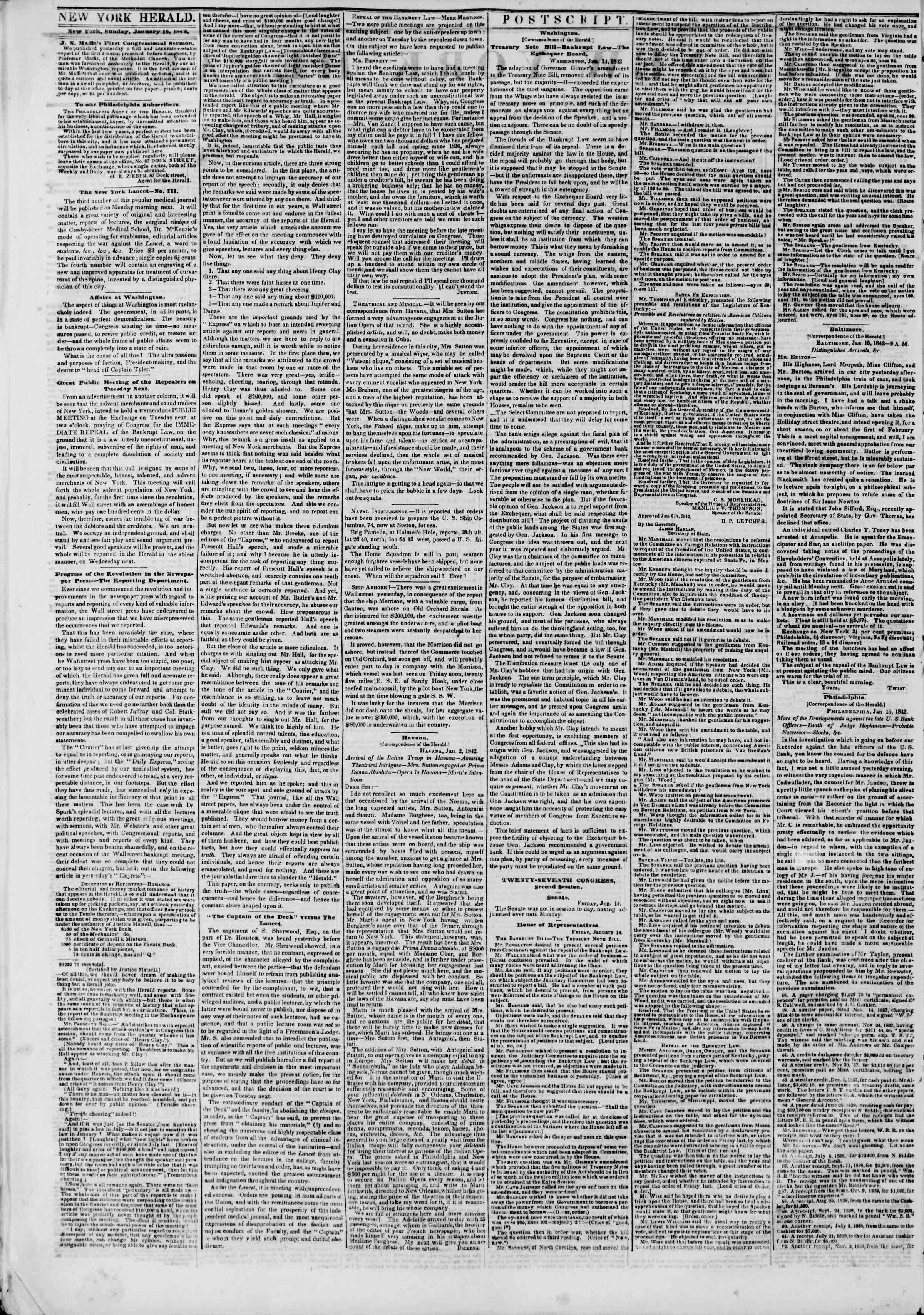 Newspaper of The New York Herald dated January 16, 1842 Page 2