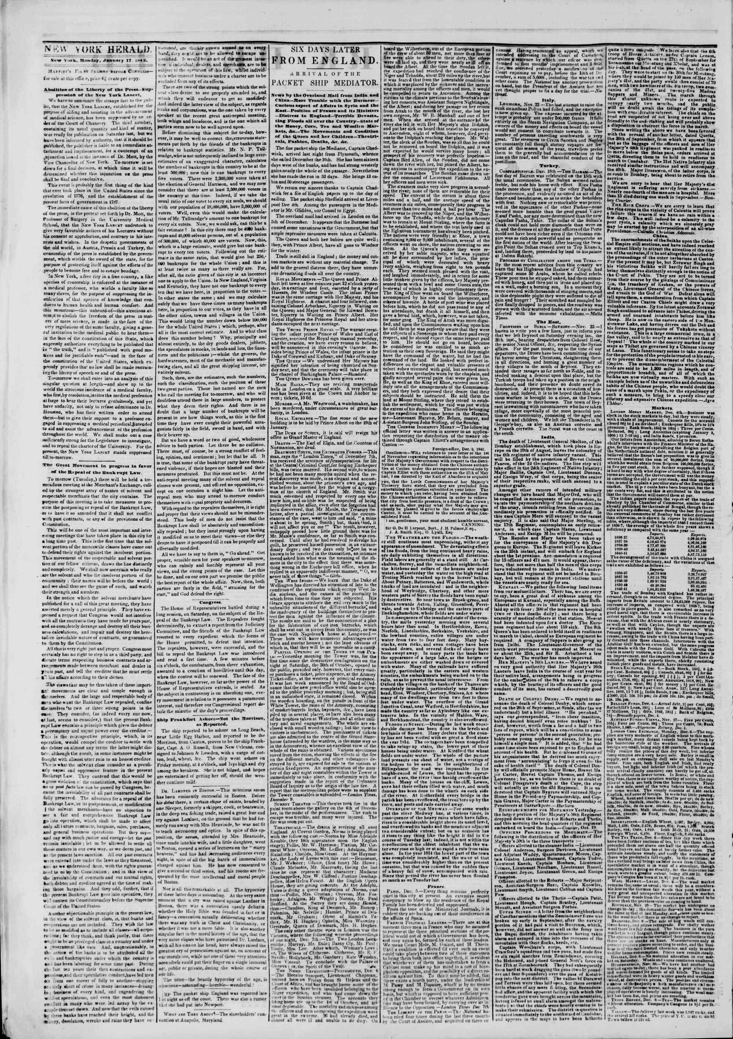 January 17, 1842 Tarihli The New York Herald Gazetesi Sayfa 2