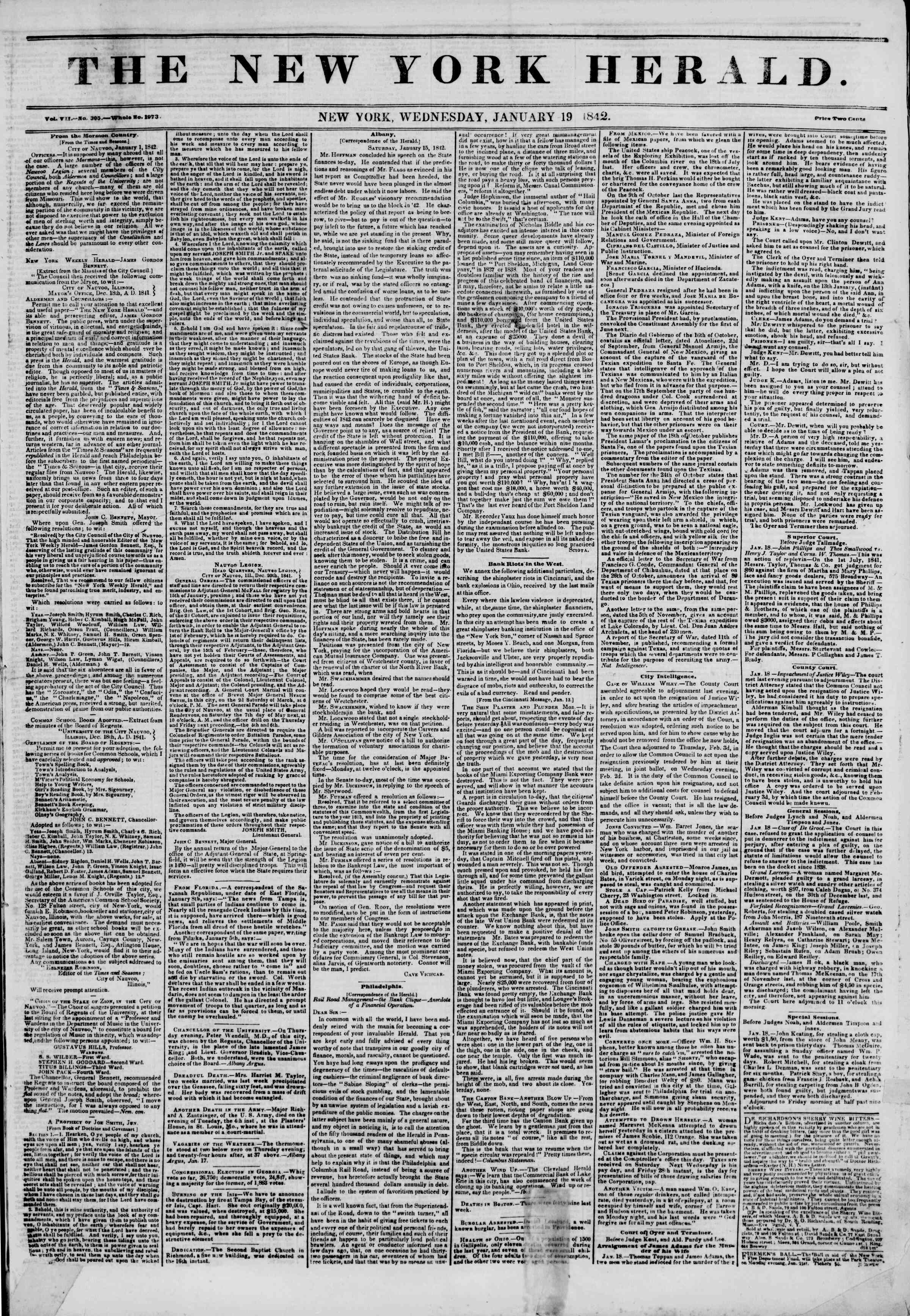 Newspaper of The New York Herald dated January 19, 1842 Page 1