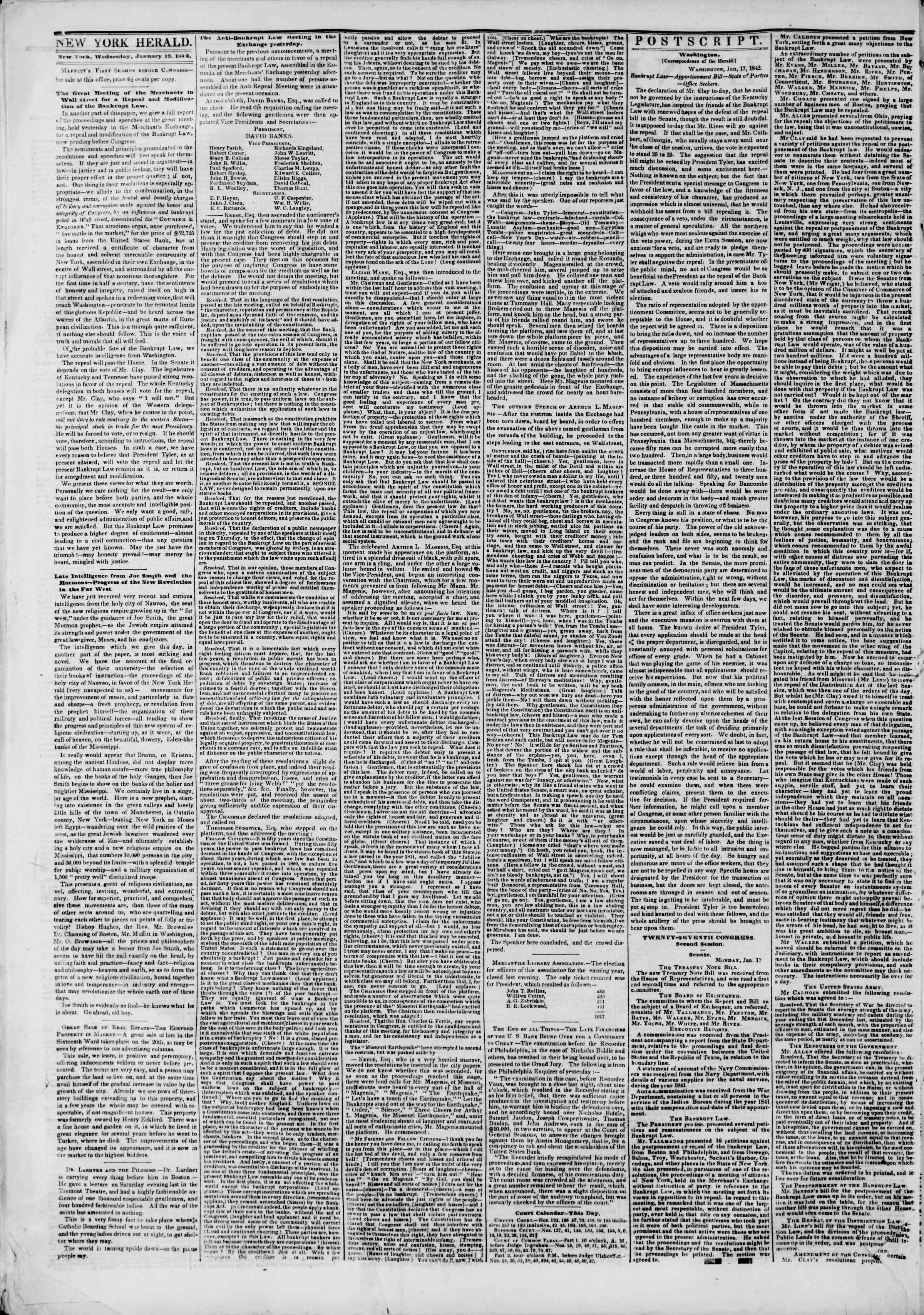 Newspaper of The New York Herald dated January 19, 1842 Page 2