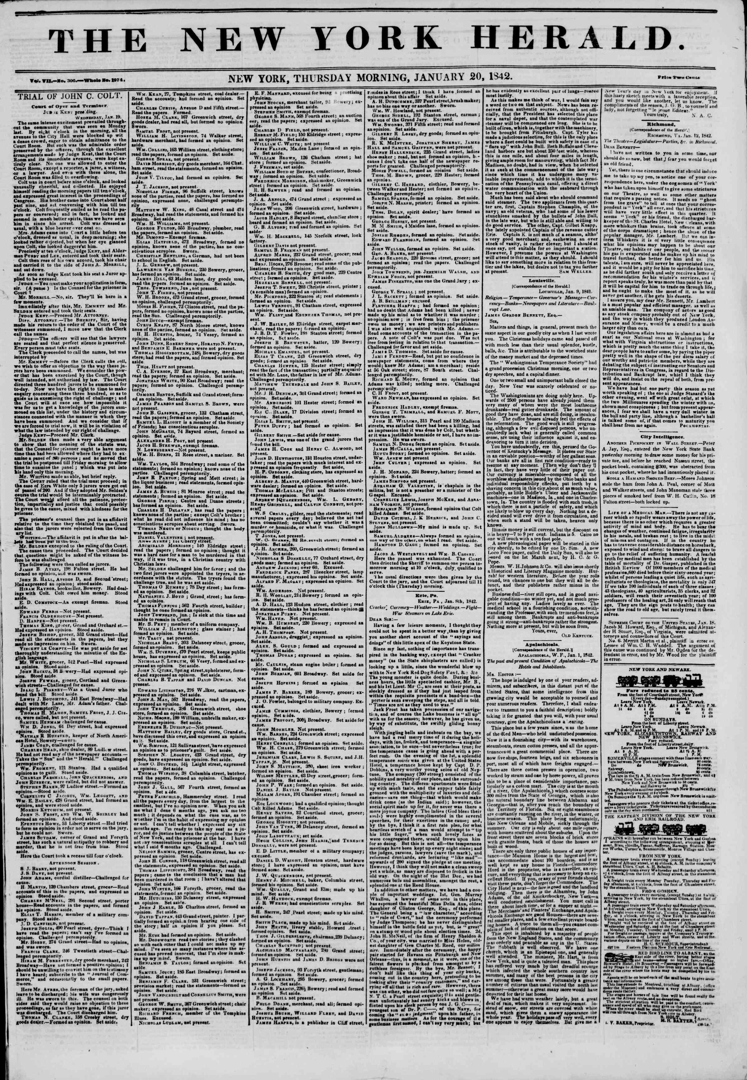 Newspaper of The New York Herald dated January 20, 1842 Page 1