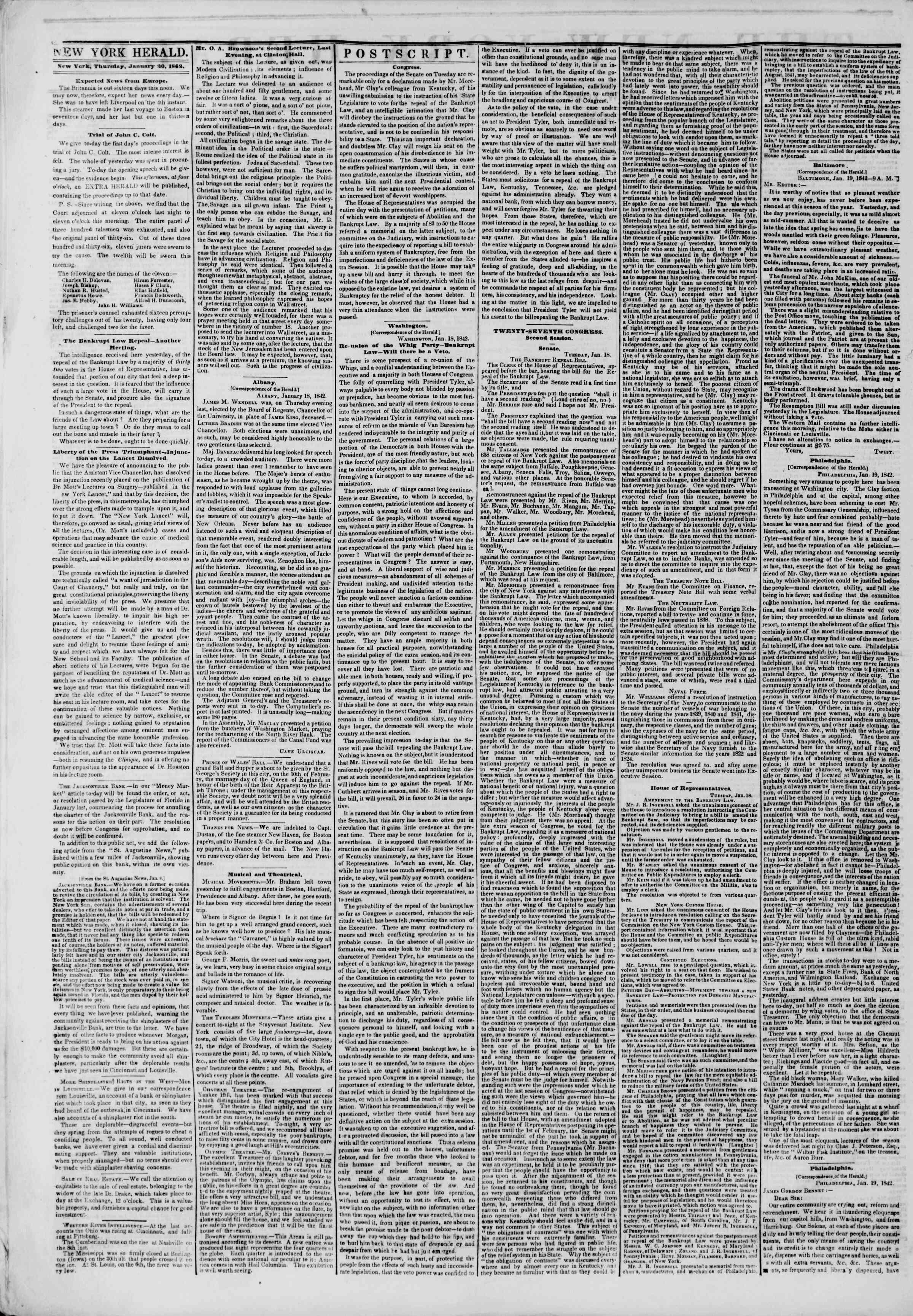 January 20, 1842 Tarihli The New York Herald Gazetesi Sayfa 2