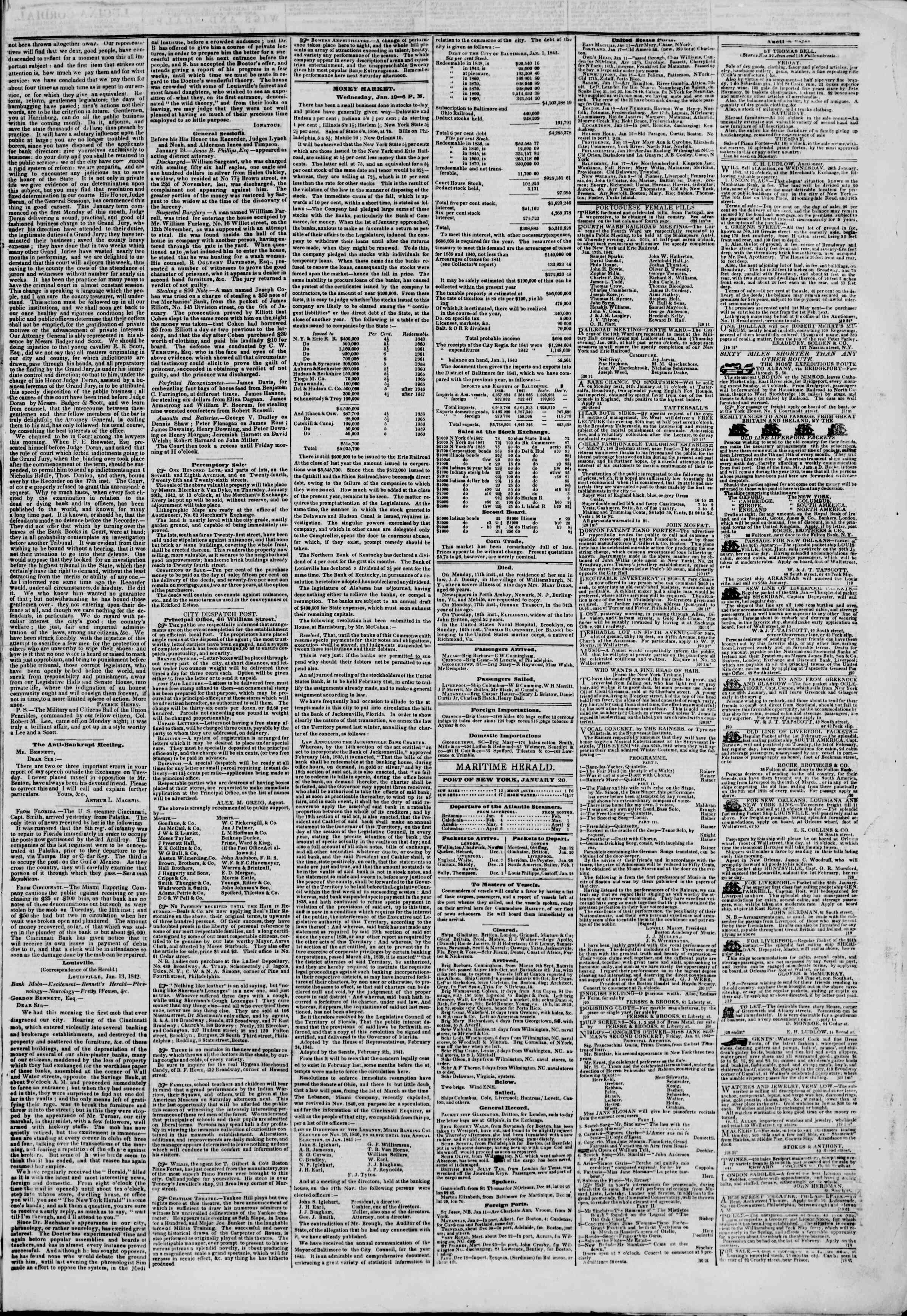 Newspaper of The New York Herald dated January 20, 1842 Page 3