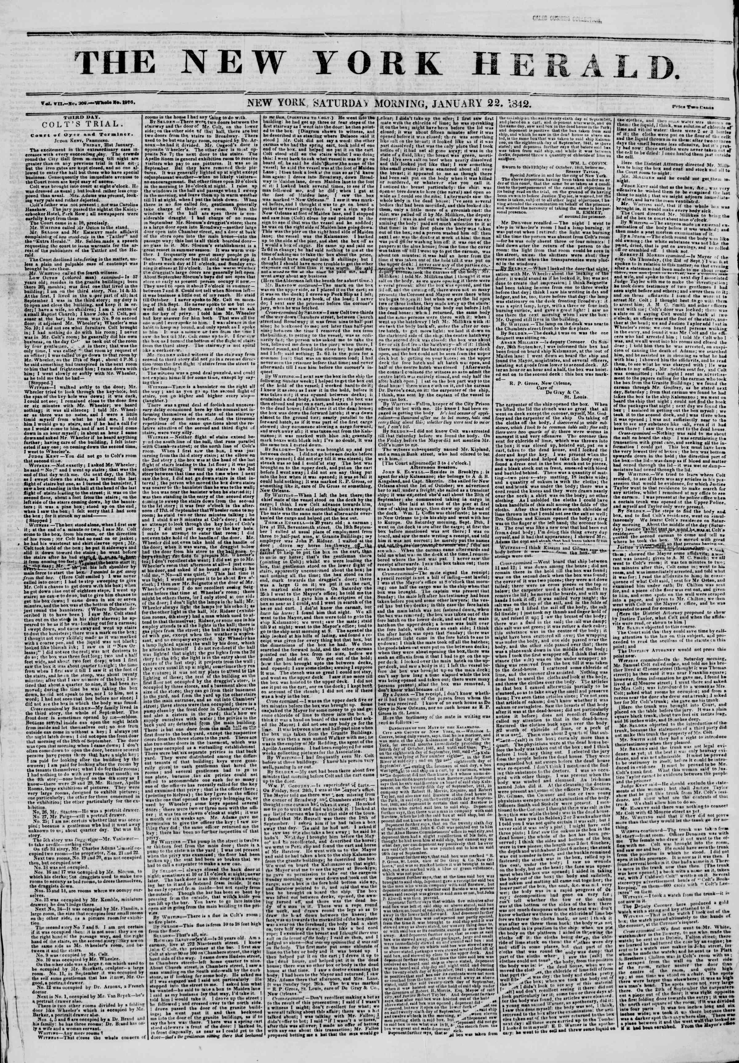 Newspaper of The New York Herald dated January 22, 1842 Page 1