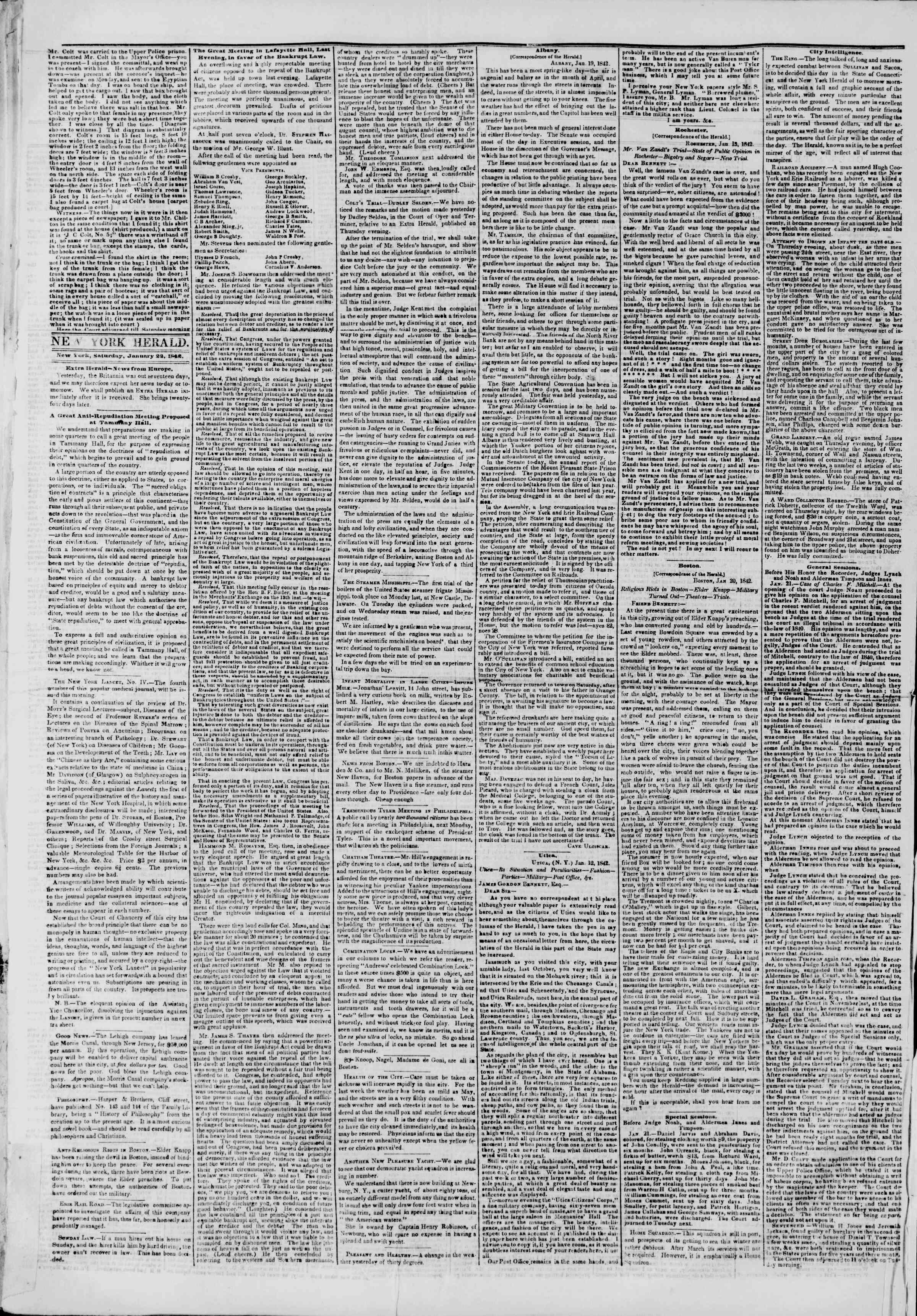 Newspaper of The New York Herald dated January 22, 1842 Page 2