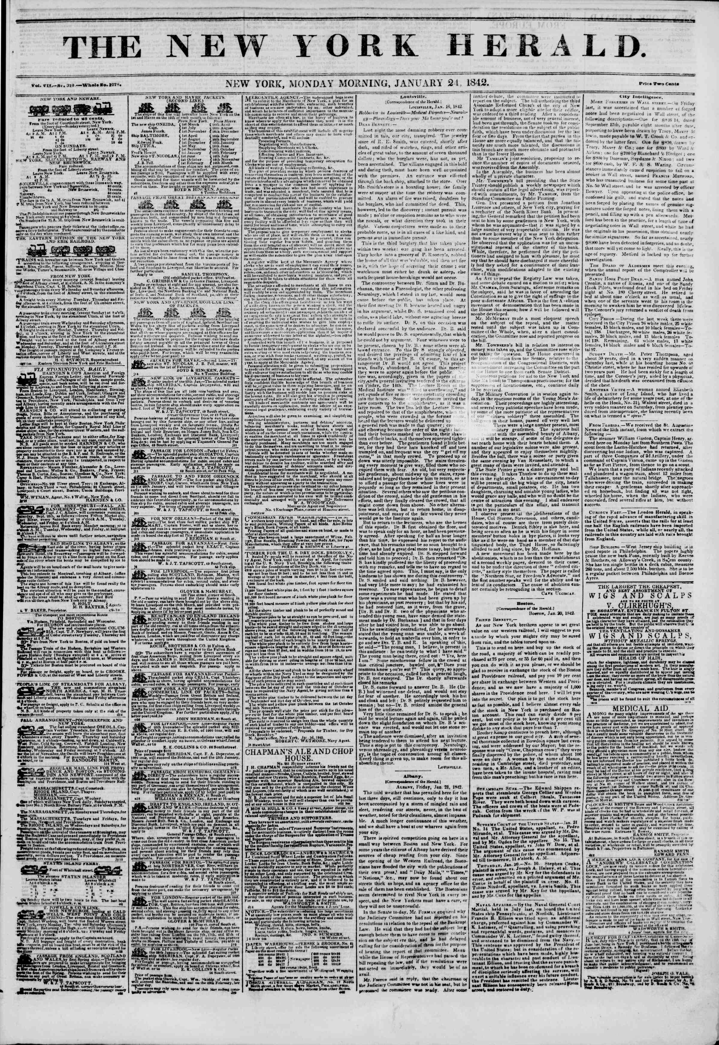 January 24, 1842 Tarihli The New York Herald Gazetesi Sayfa 1