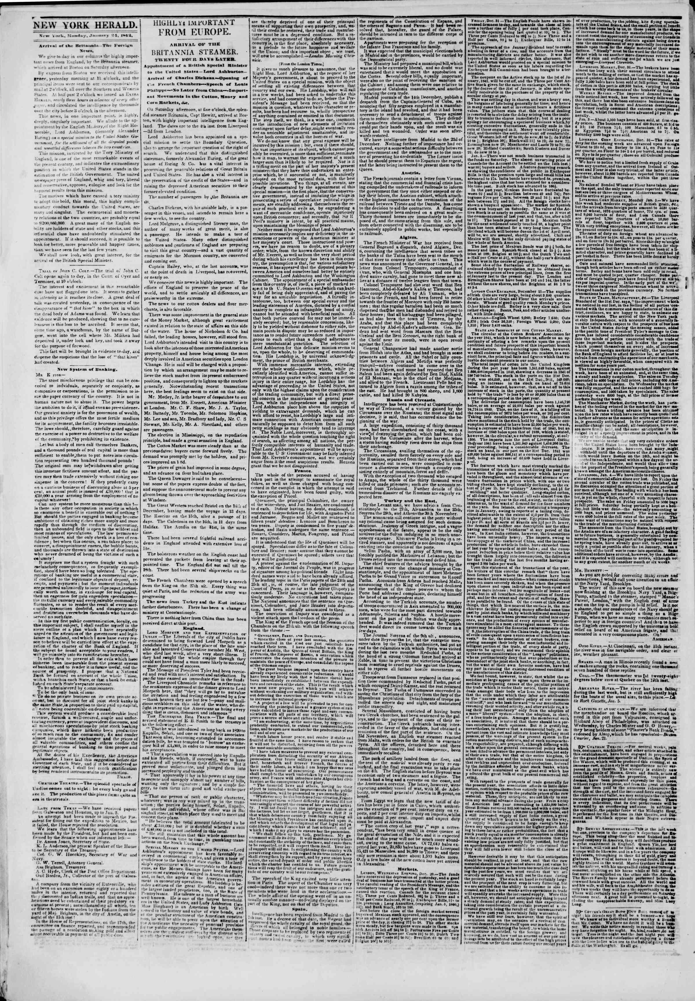 Newspaper of The New York Herald dated January 24, 1842 Page 2