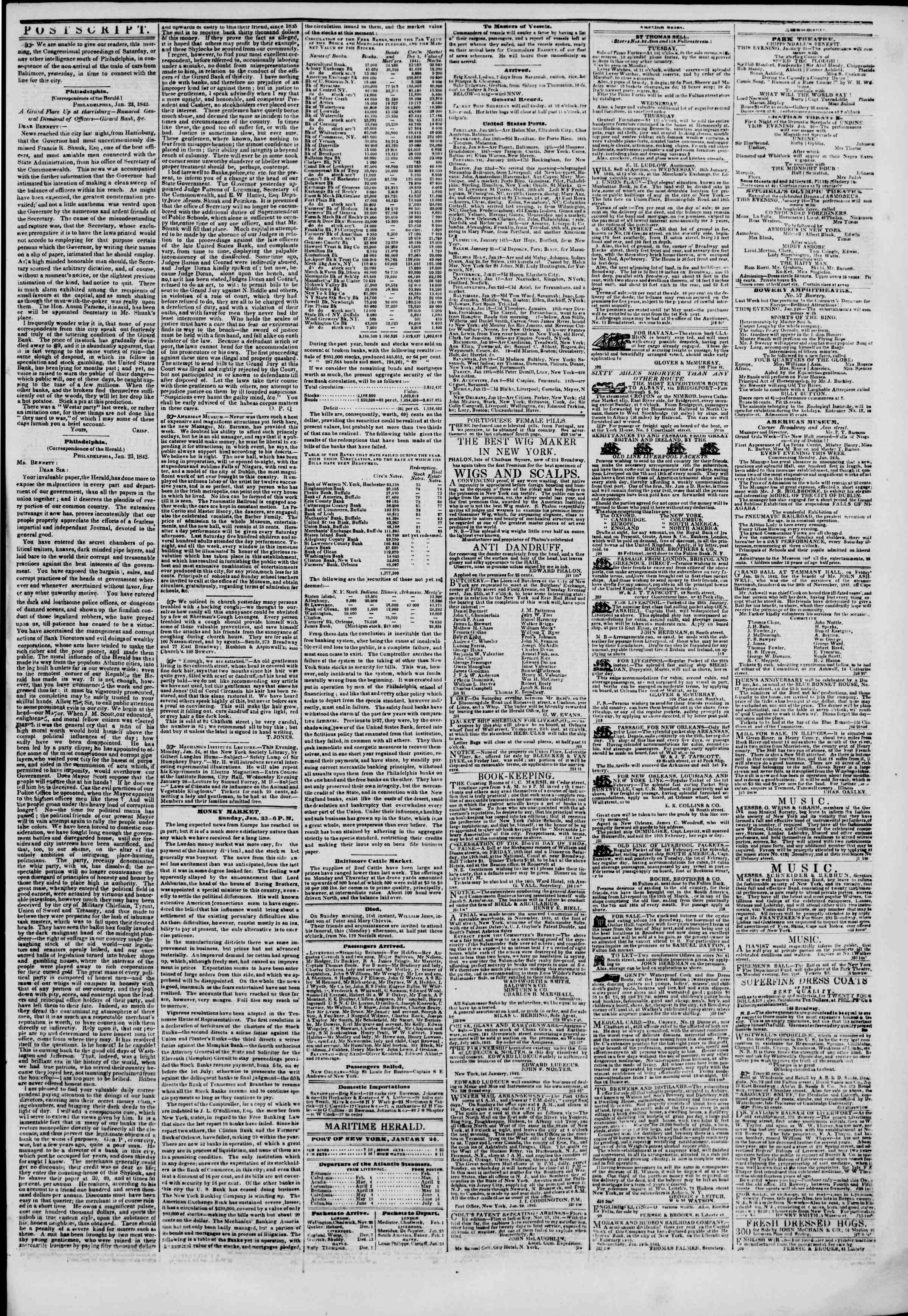 Newspaper of The New York Herald dated January 24, 1842 Page 3