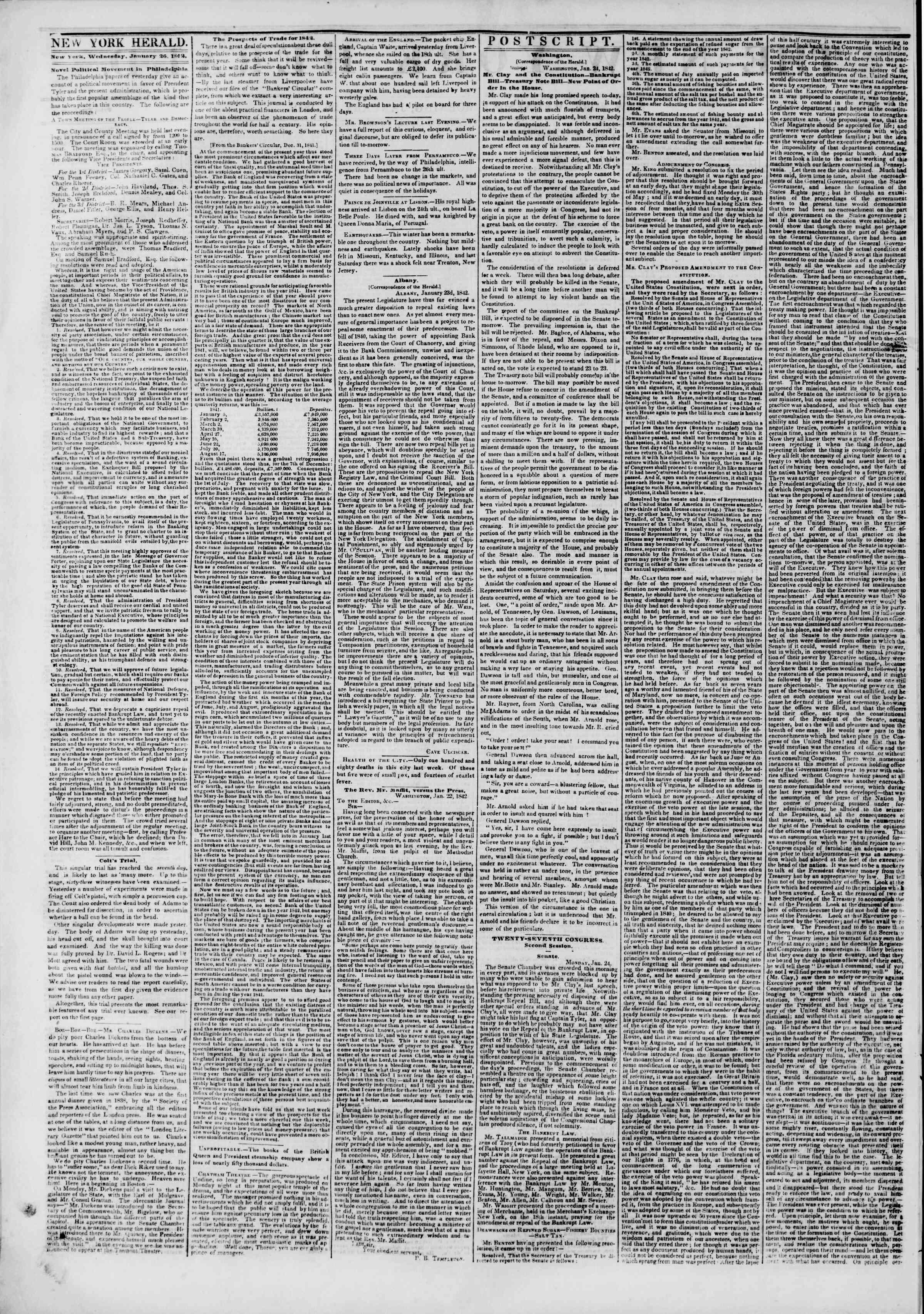January 26, 1842 Tarihli The New York Herald Gazetesi Sayfa 2