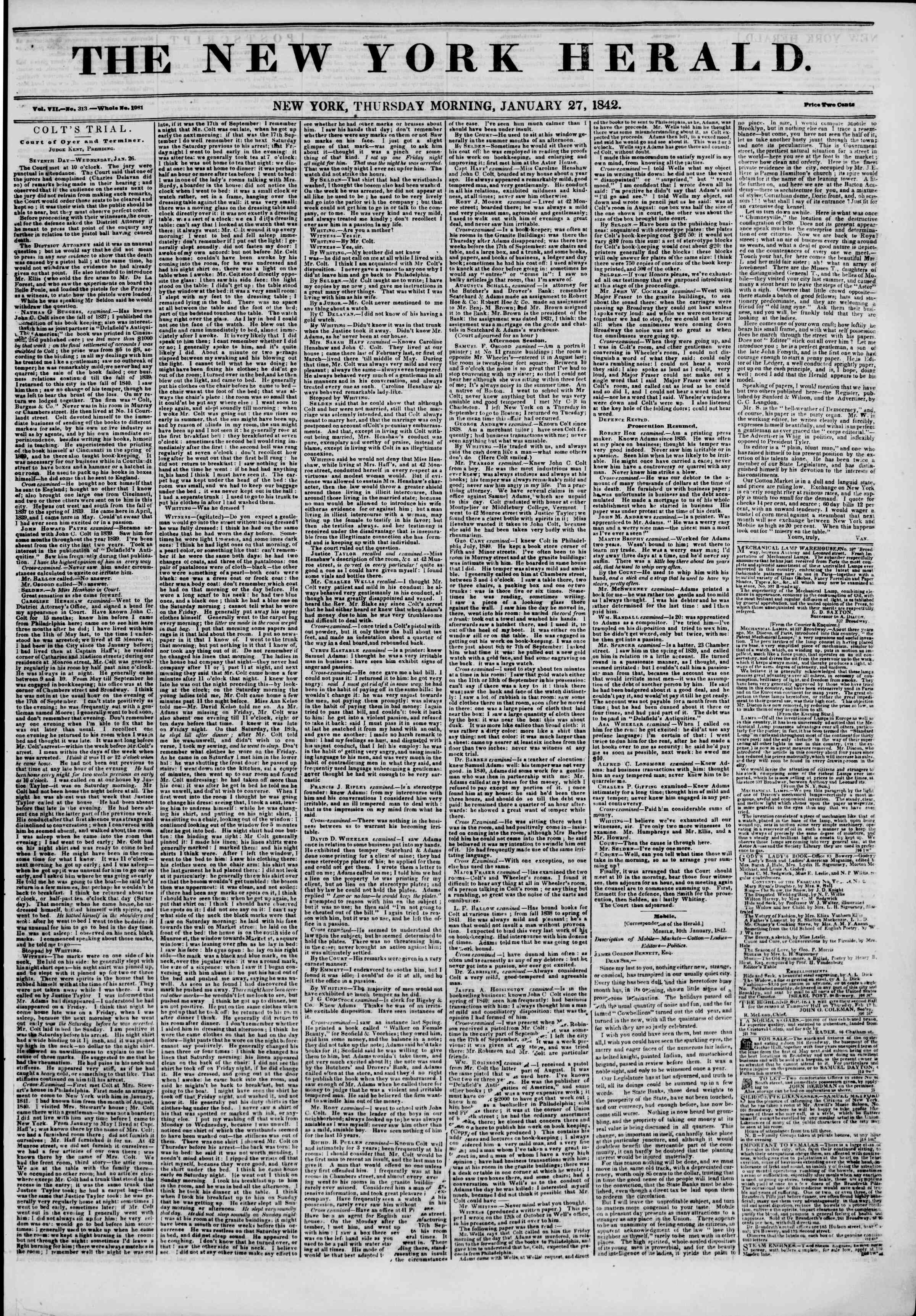 January 27, 1842 Tarihli The New York Herald Gazetesi Sayfa 1