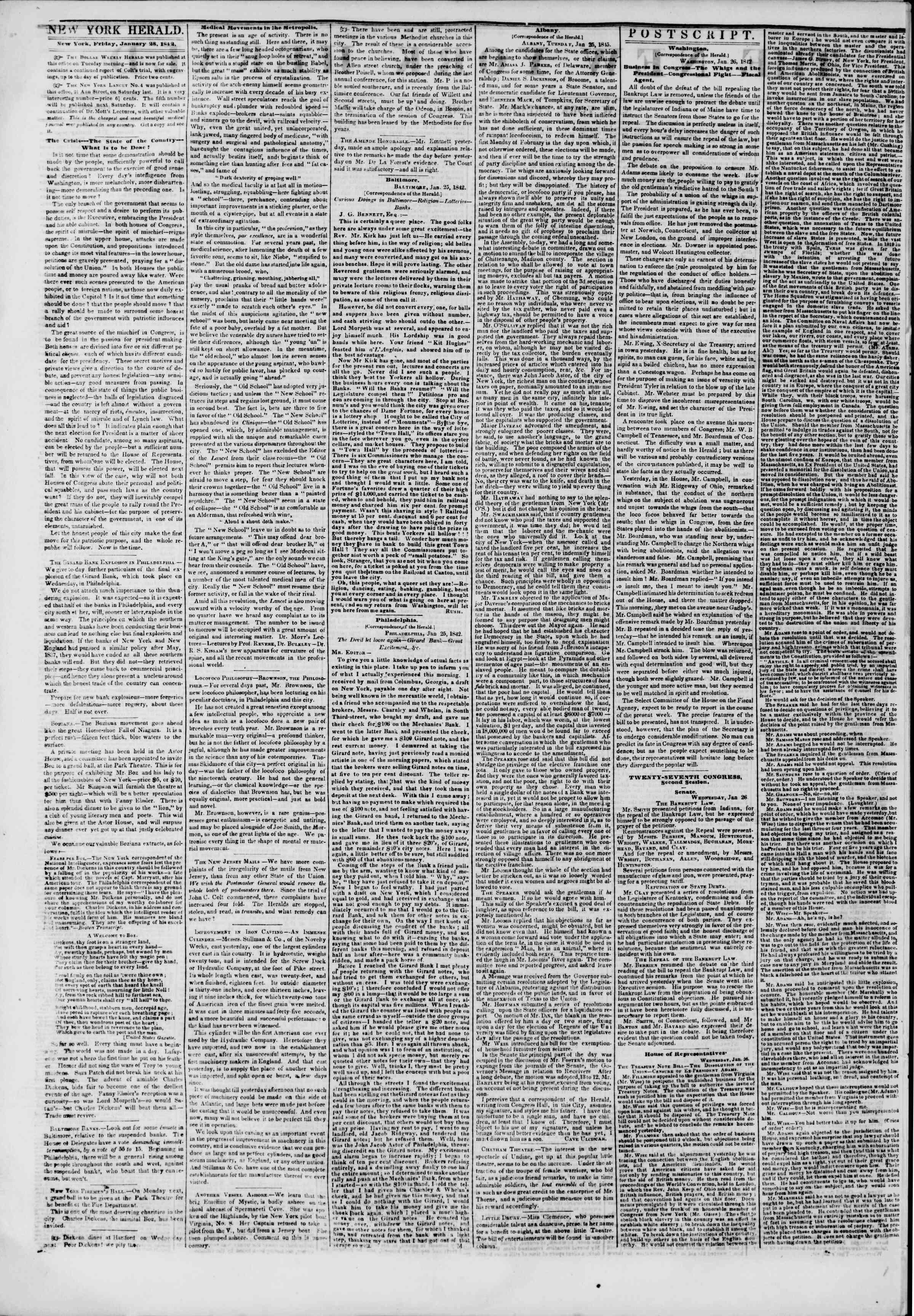 January 28, 1842 Tarihli The New York Herald Gazetesi Sayfa 2
