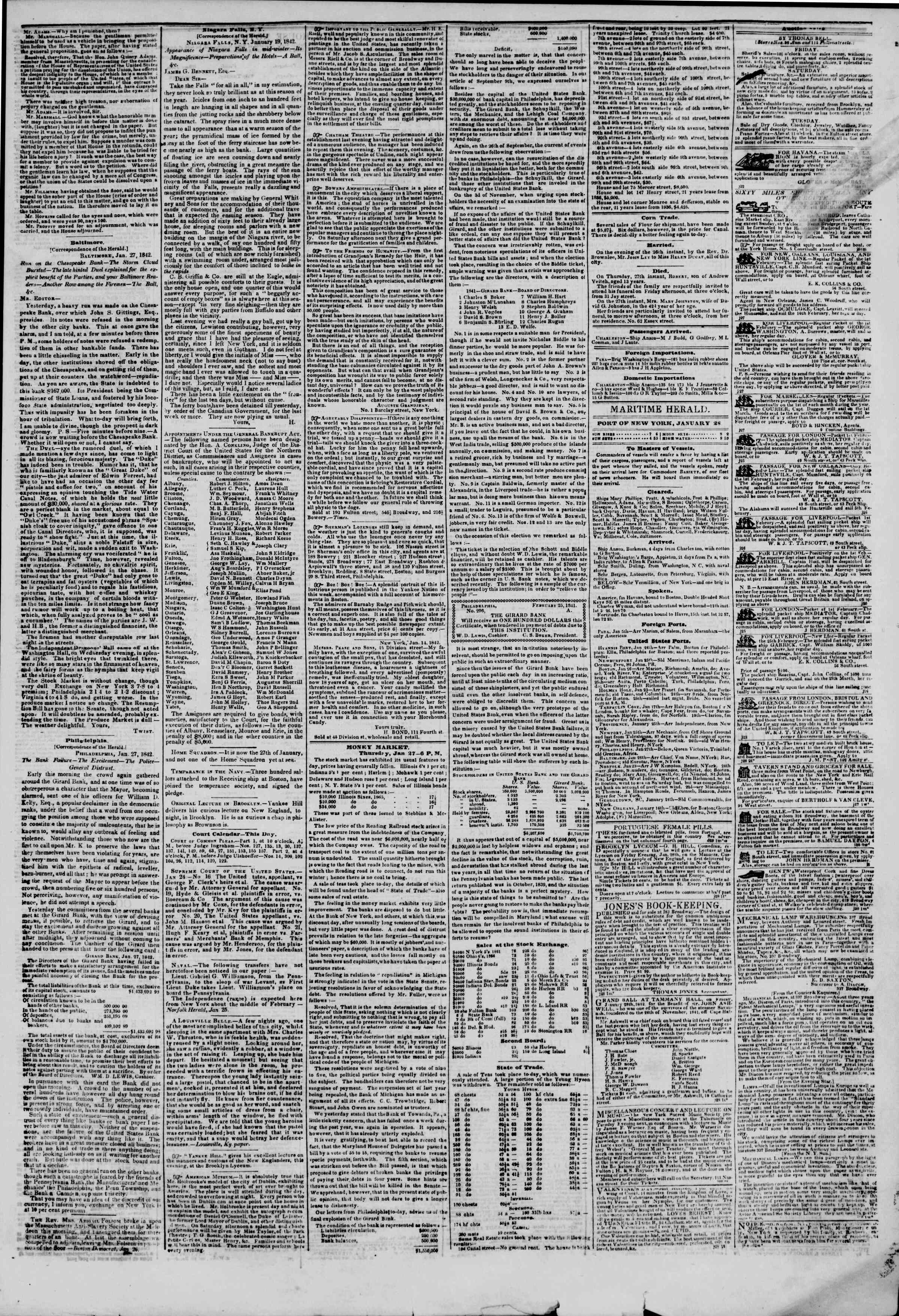 Newspaper of The New York Herald dated January 28, 1842 Page 3