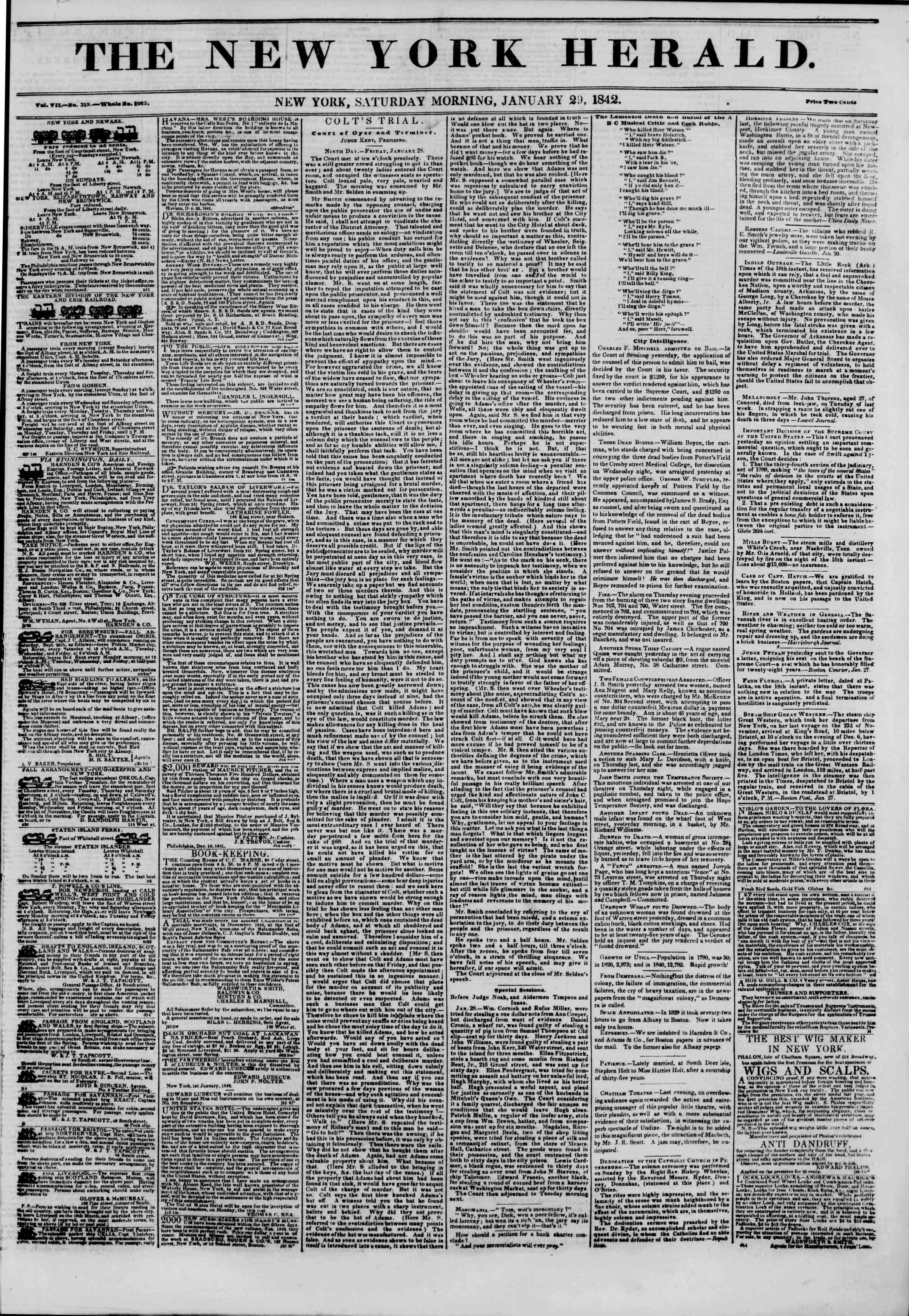 January 29, 1842 Tarihli The New York Herald Gazetesi Sayfa 1