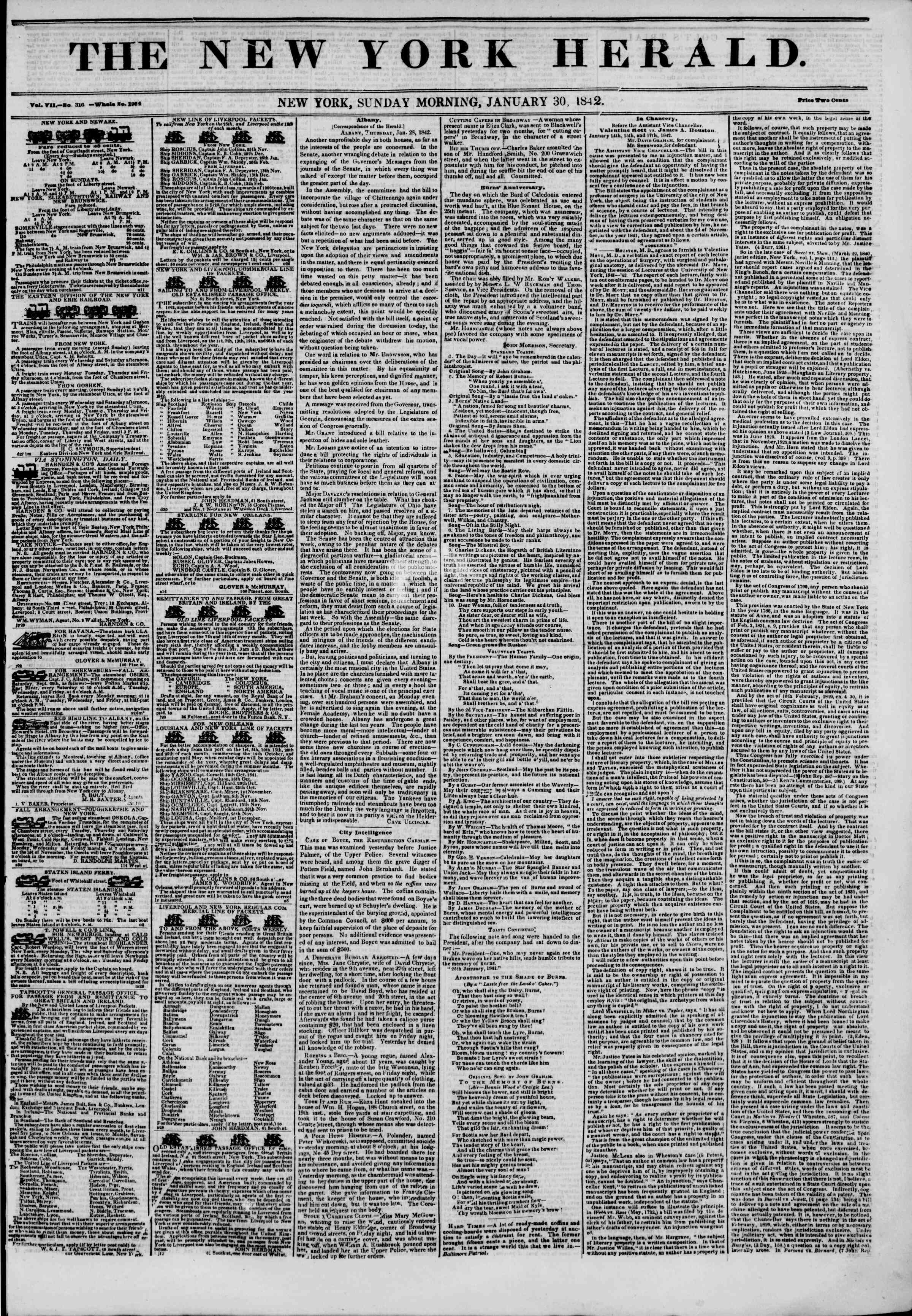 30 Ocak 1842 Tarihli The New York Herald Gazetesi Sayfa 1