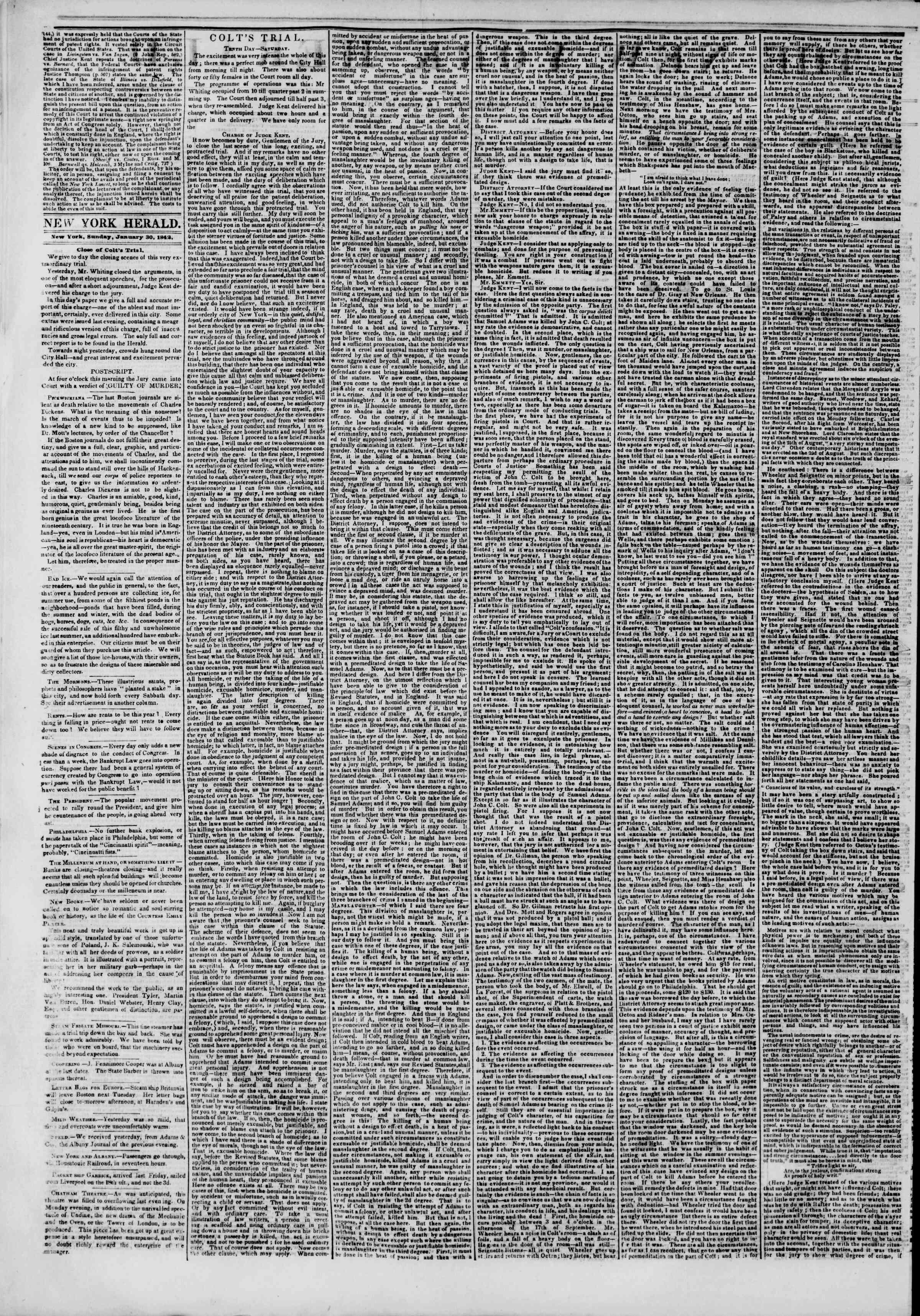 January 30, 1842 Tarihli The New York Herald Gazetesi Sayfa 2