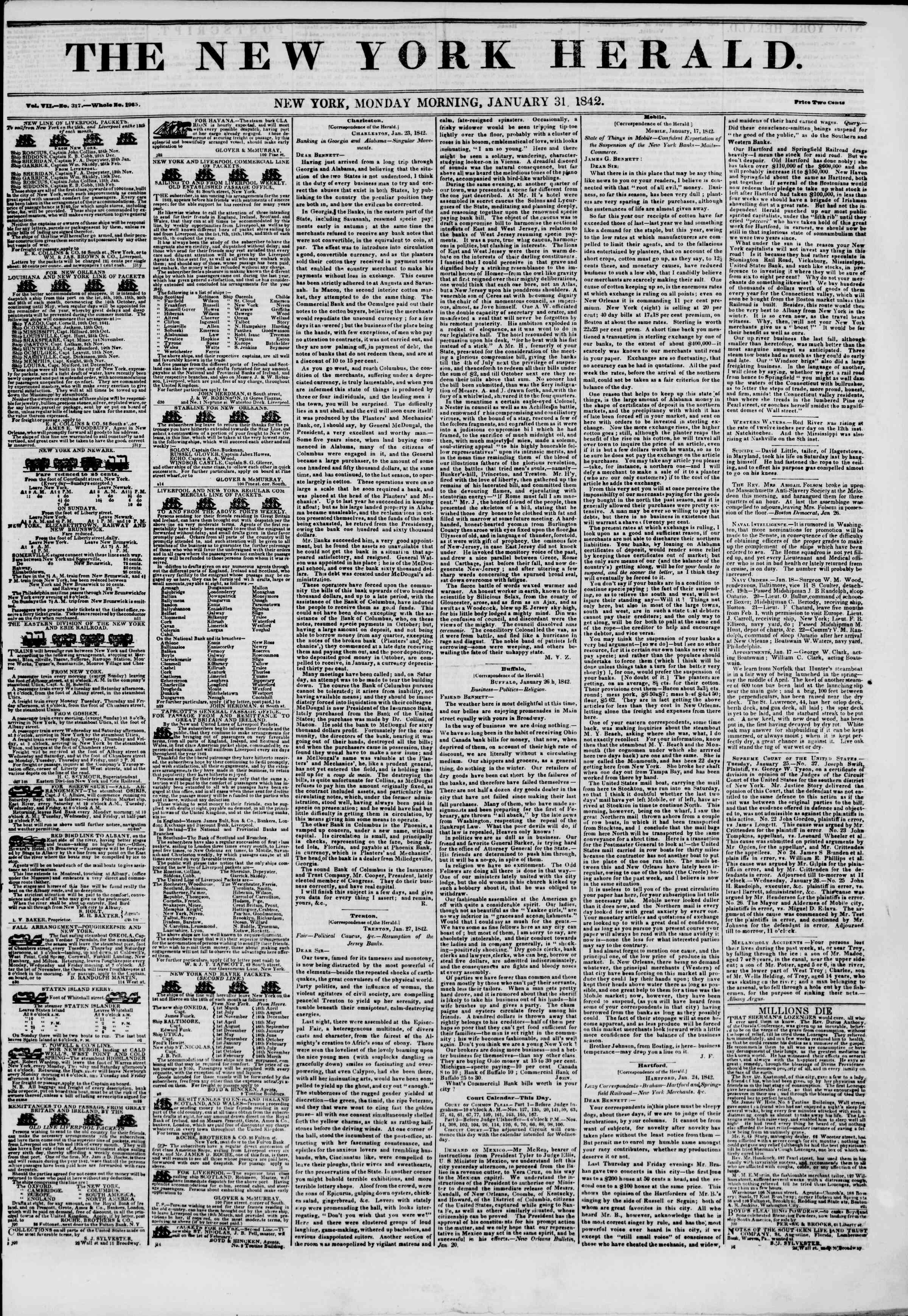 January 31, 1842 Tarihli The New York Herald Gazetesi Sayfa 1