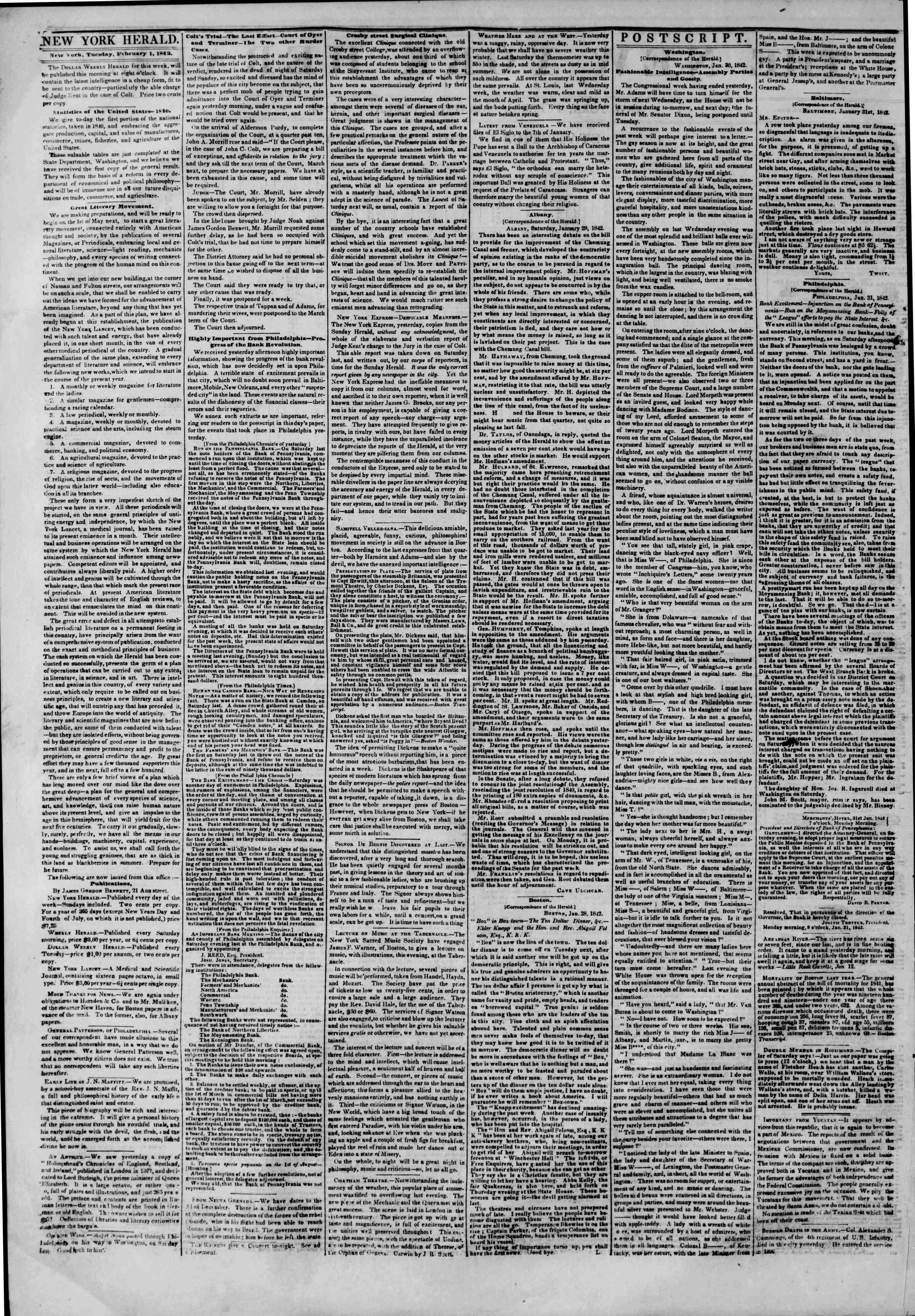 Newspaper of The New York Herald dated February 1, 1842 Page 4